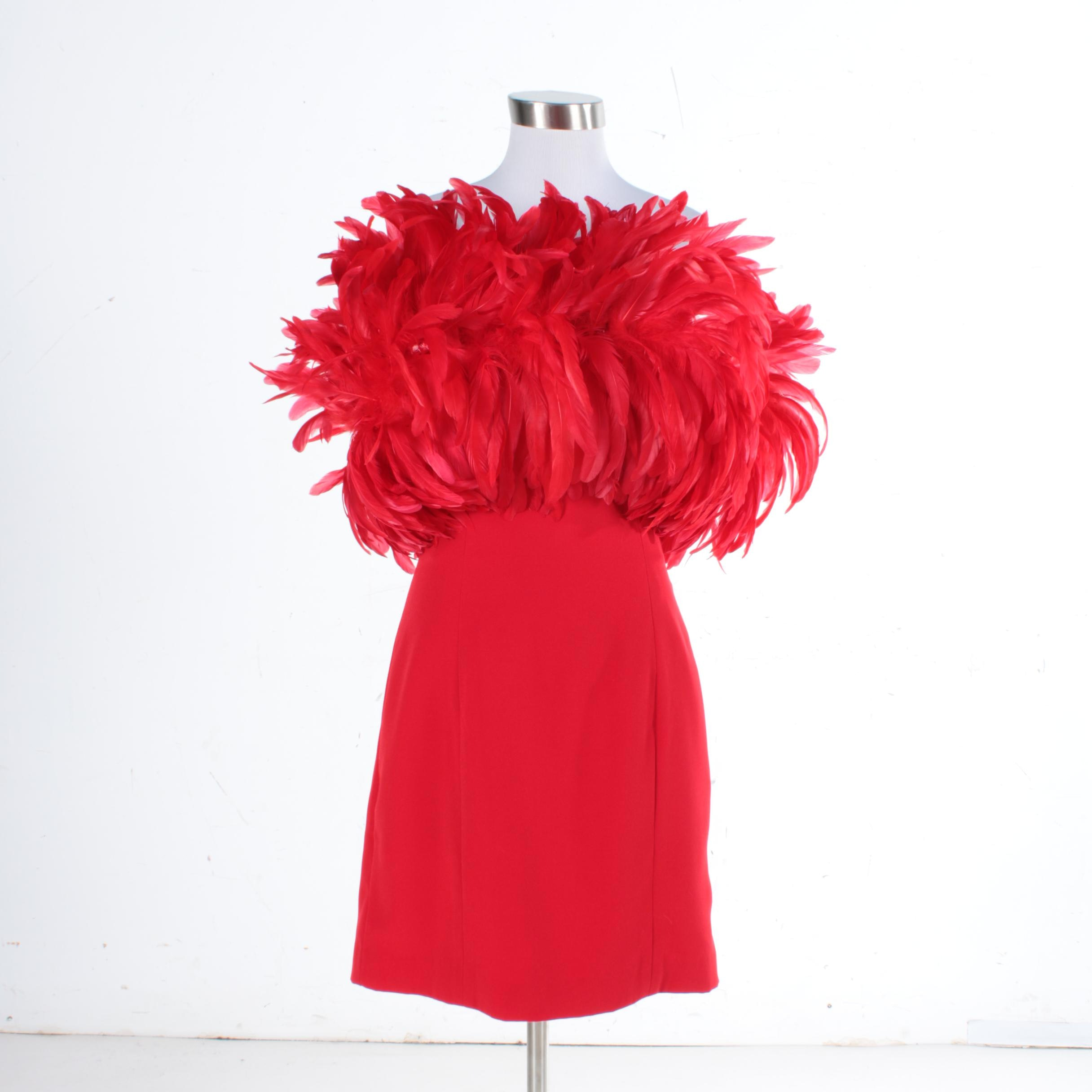 1990s Scarlet Red Feathered Mini Dress