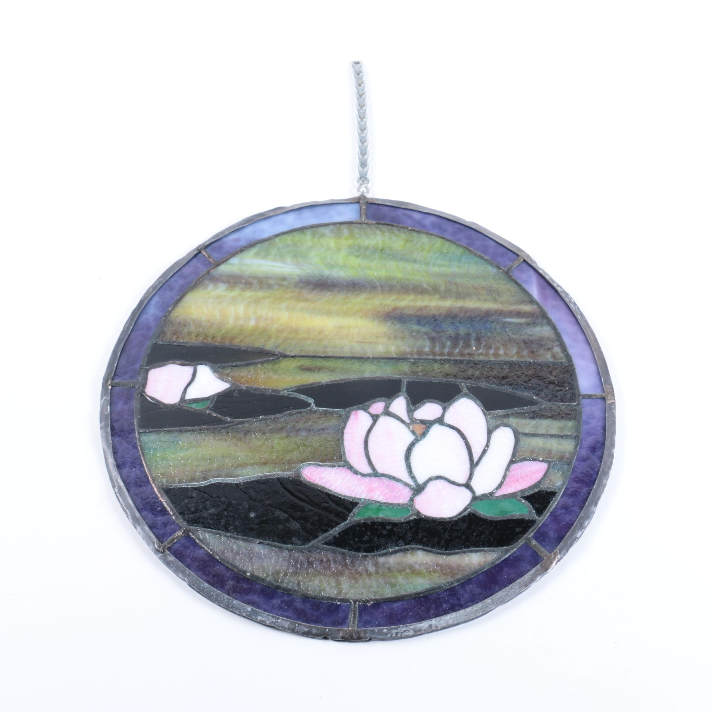 Round Stained Glass Panel With Lily Motif