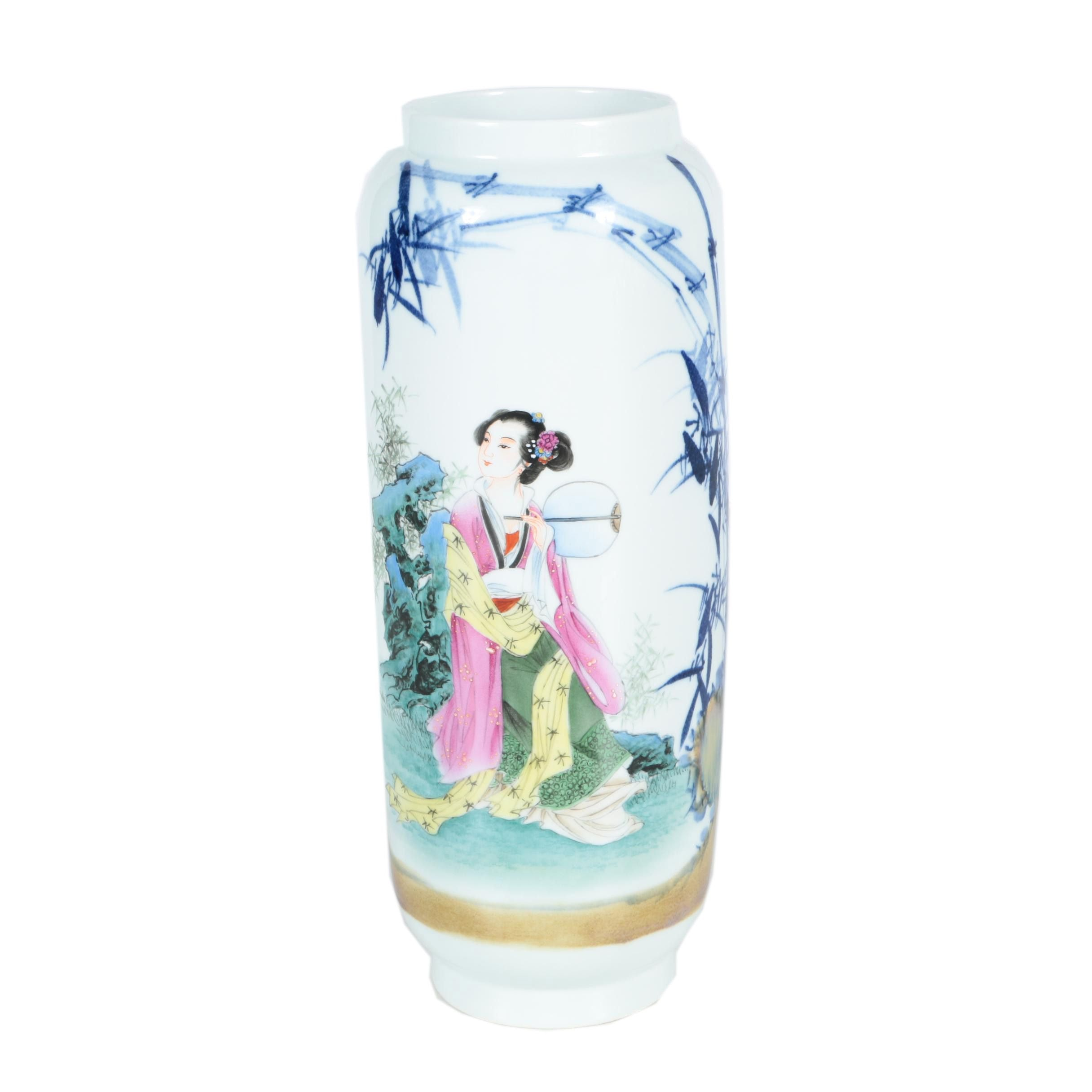 Chinese Vase Depicting a Woman Seated in a Garden