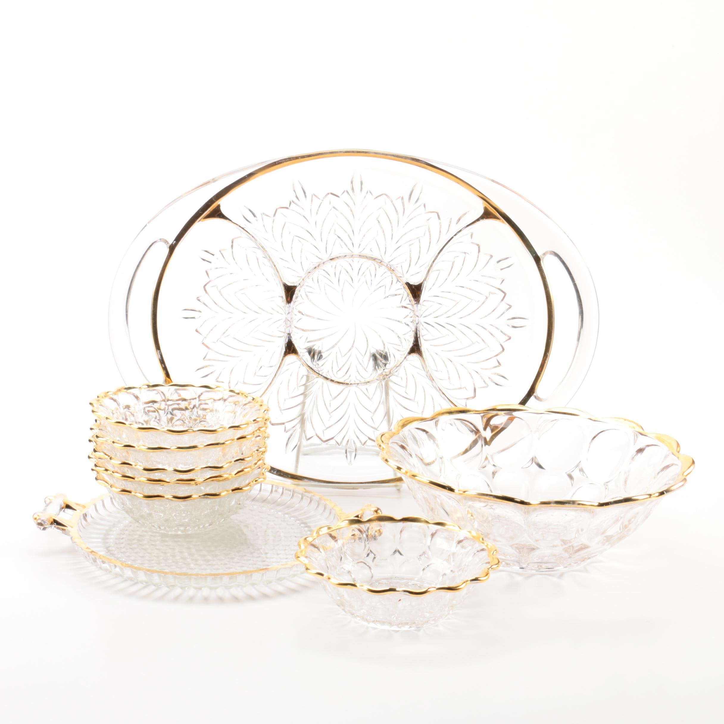 Collection of Glass and Gilt Tableware