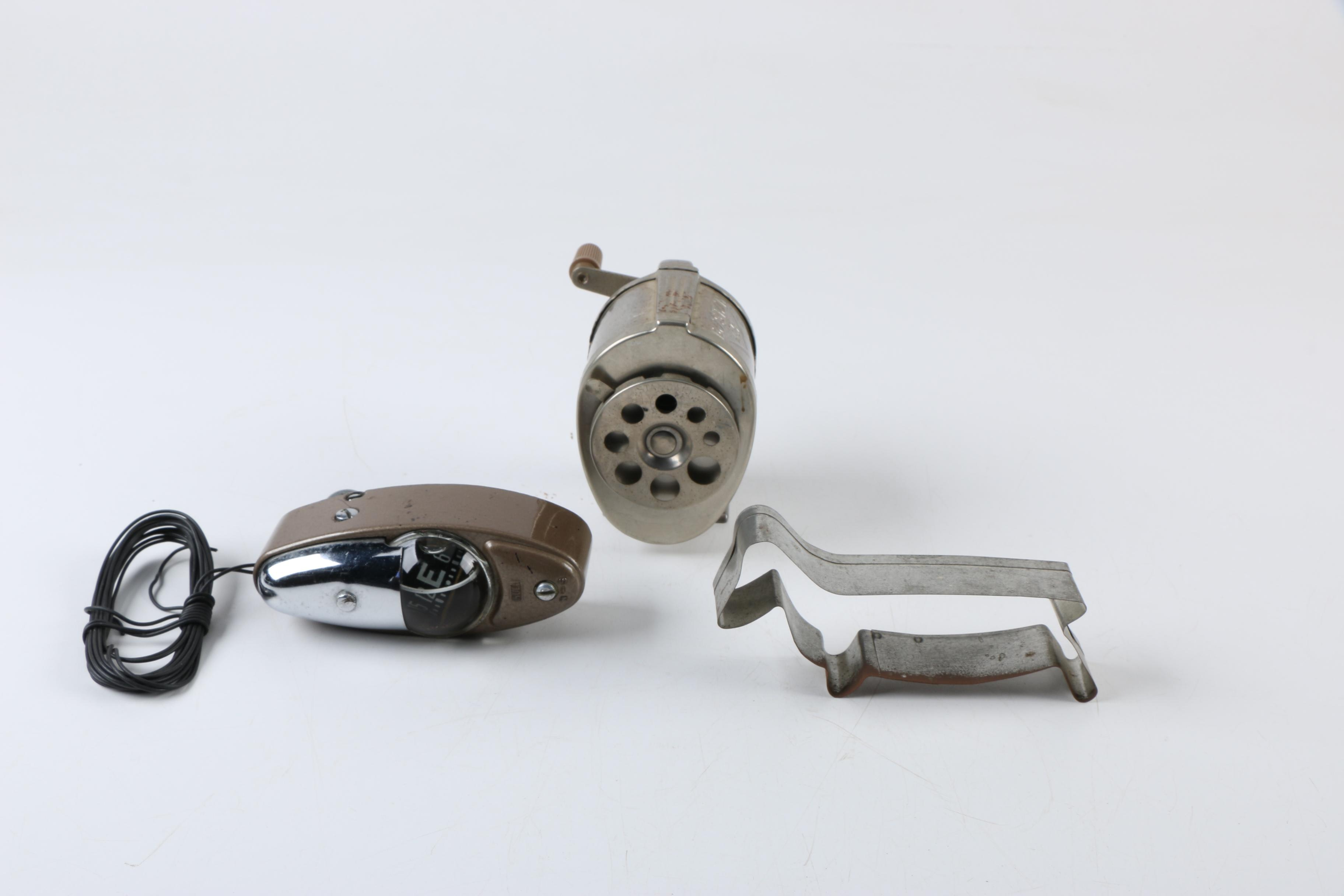 Vintage Pencil Sharpener, Compass, and Cookie Cutter