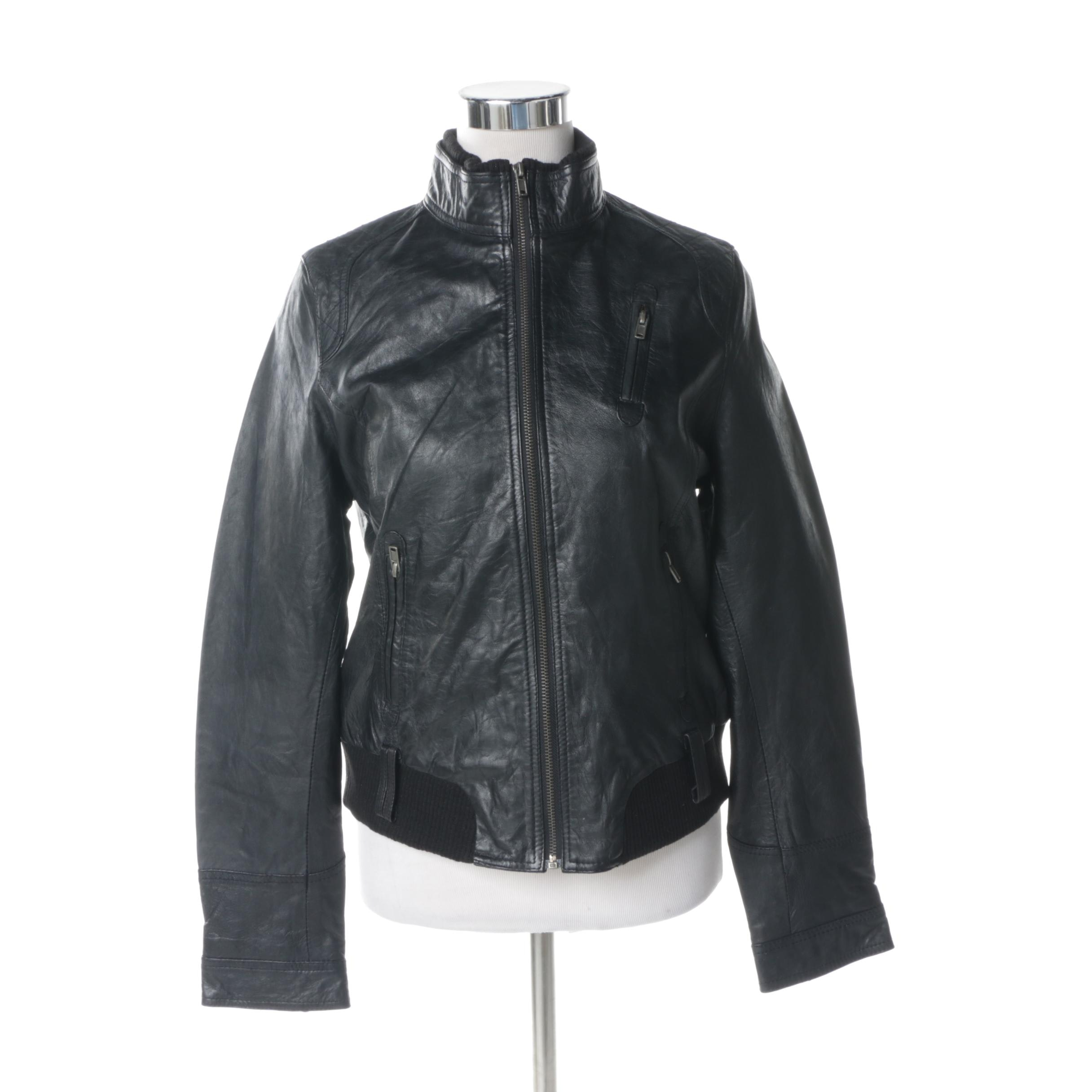 Women's Barneys Originals Black Leather Motorcycle Jacket