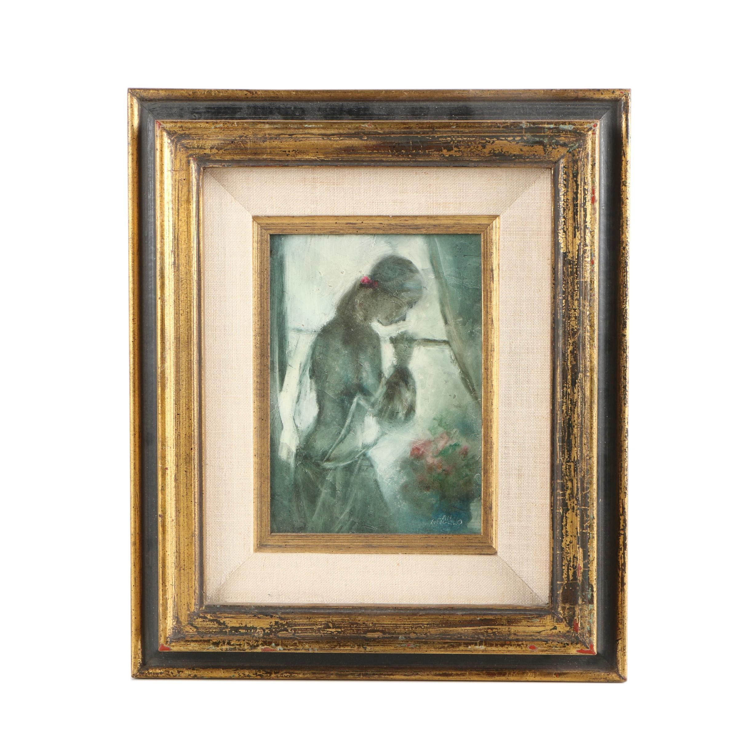 Mary San Angelo Oil Painting of Figural Composition