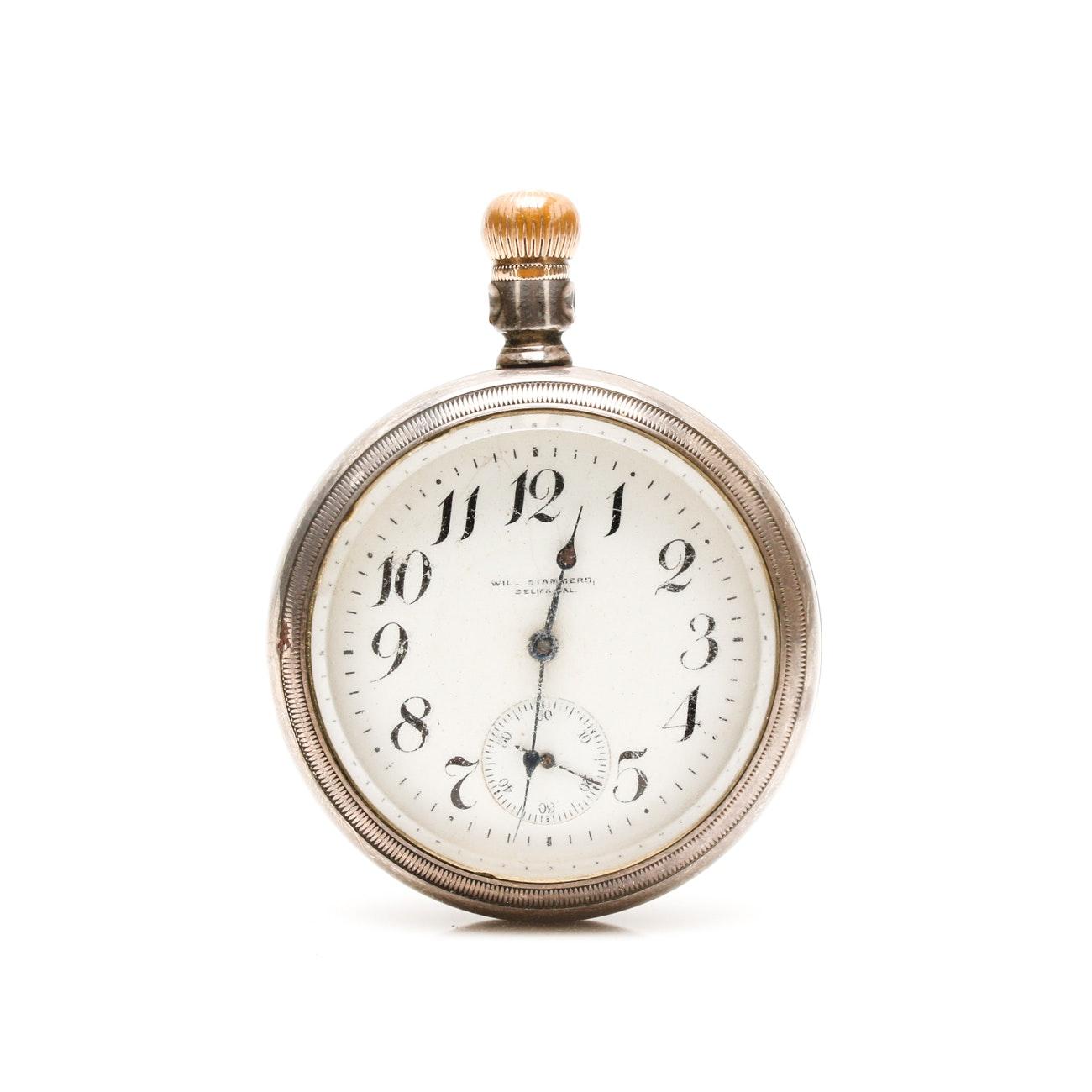 Antique Sterling Silver P.S. Bartlett Open Face Pocket Watch