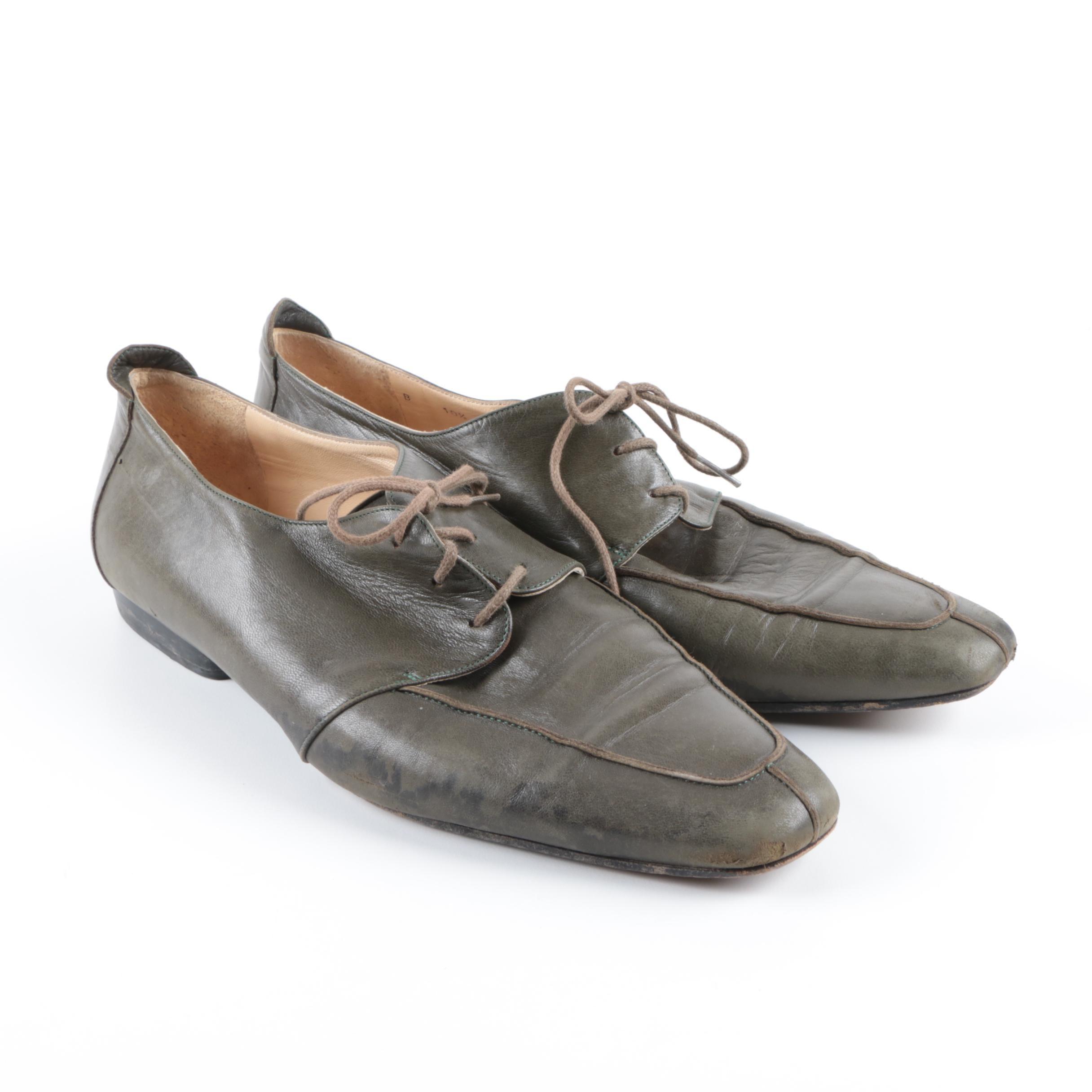 Men's Vintage Bruno Magli Olive Green Leather Shoes