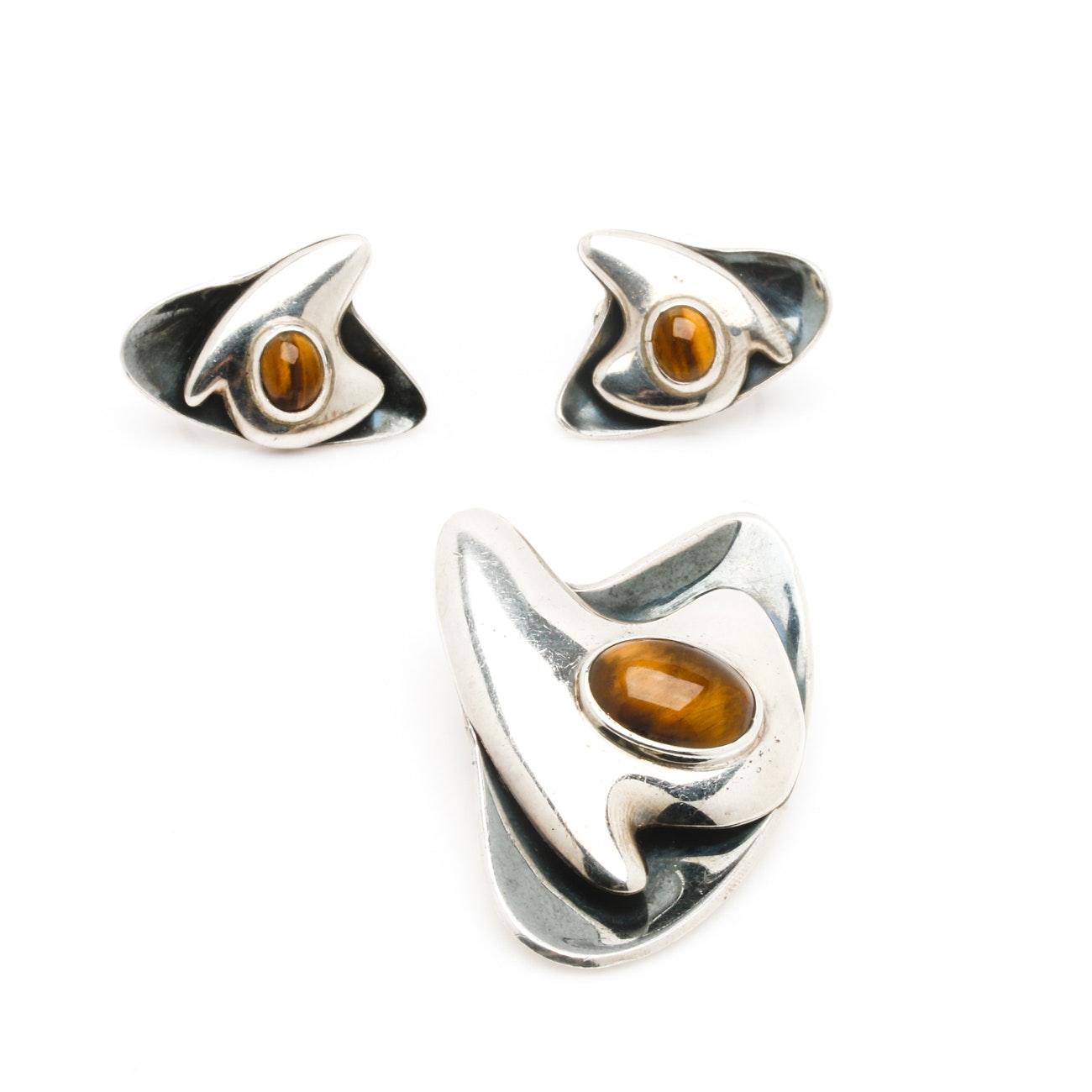 Modernist Sigi Pineda Sterling Silver Tiger's Eye Earrings and Brooch