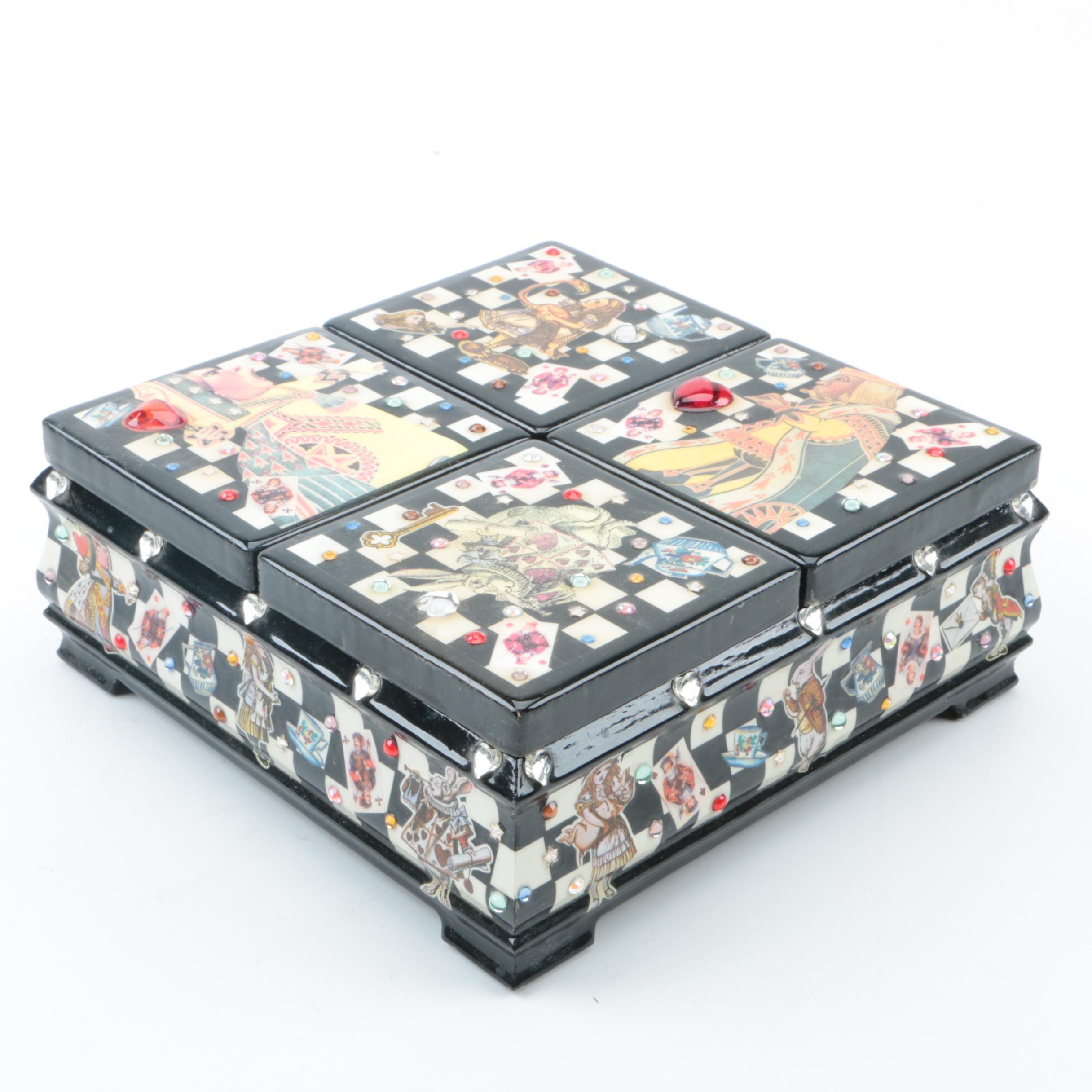 """Alice in Wonderland"" Themed Ceramic Jewelry Box"