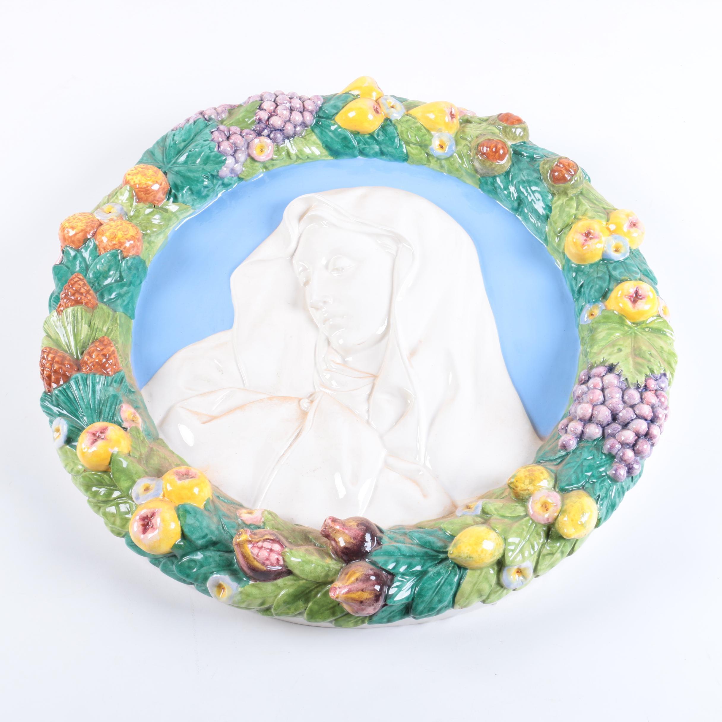 Conti Majolica Madonna & Child Plaque in the Style of Della Robbia