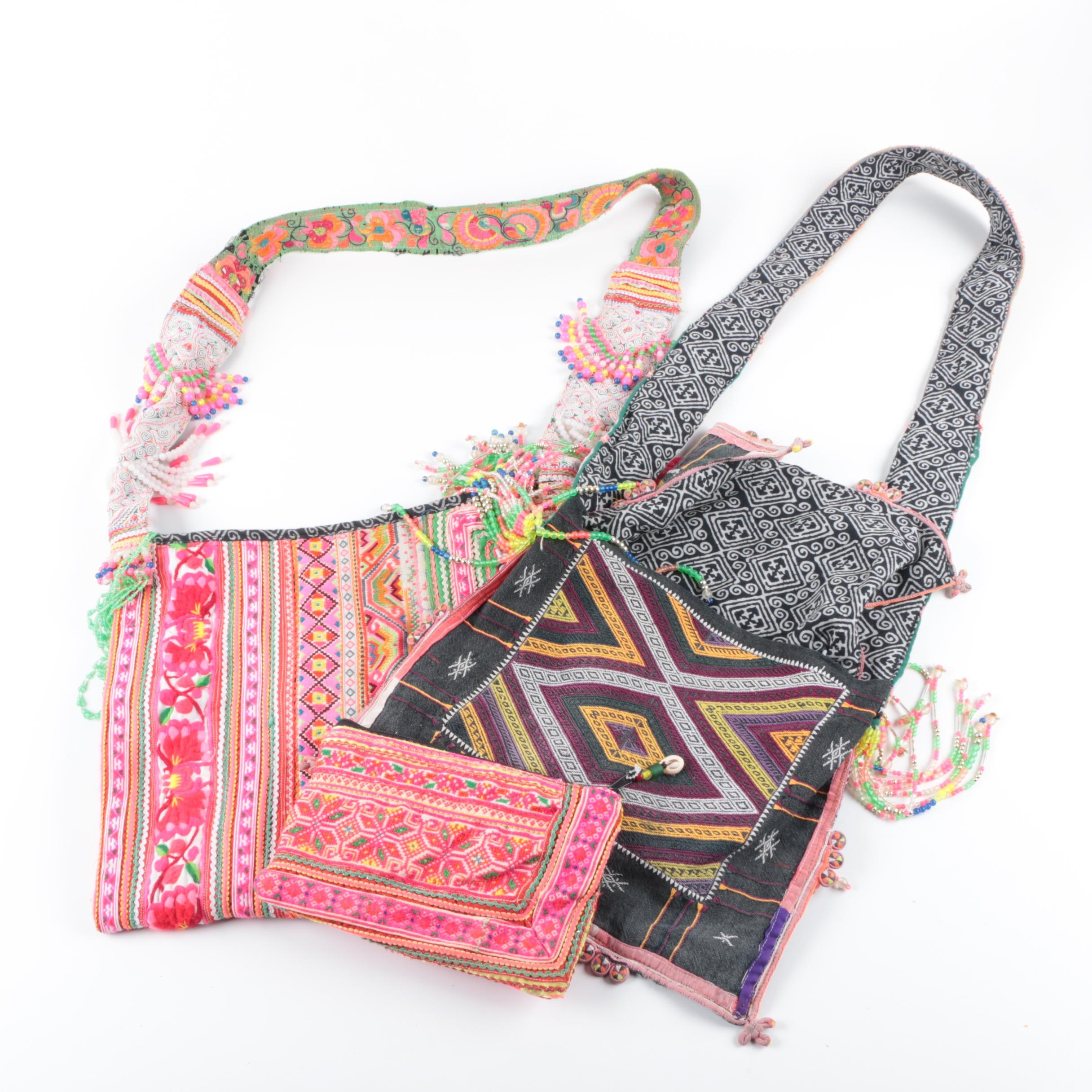 Patterned Fabric Handbags and a Pouch