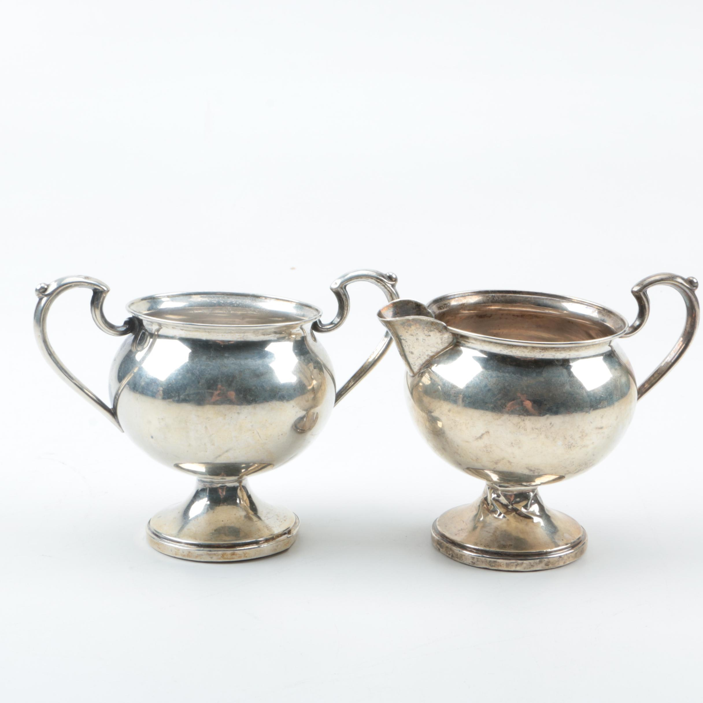 Vintage M. Fred Hirsch Weighted Sterling Silver Creamer and Sugar Bowl
