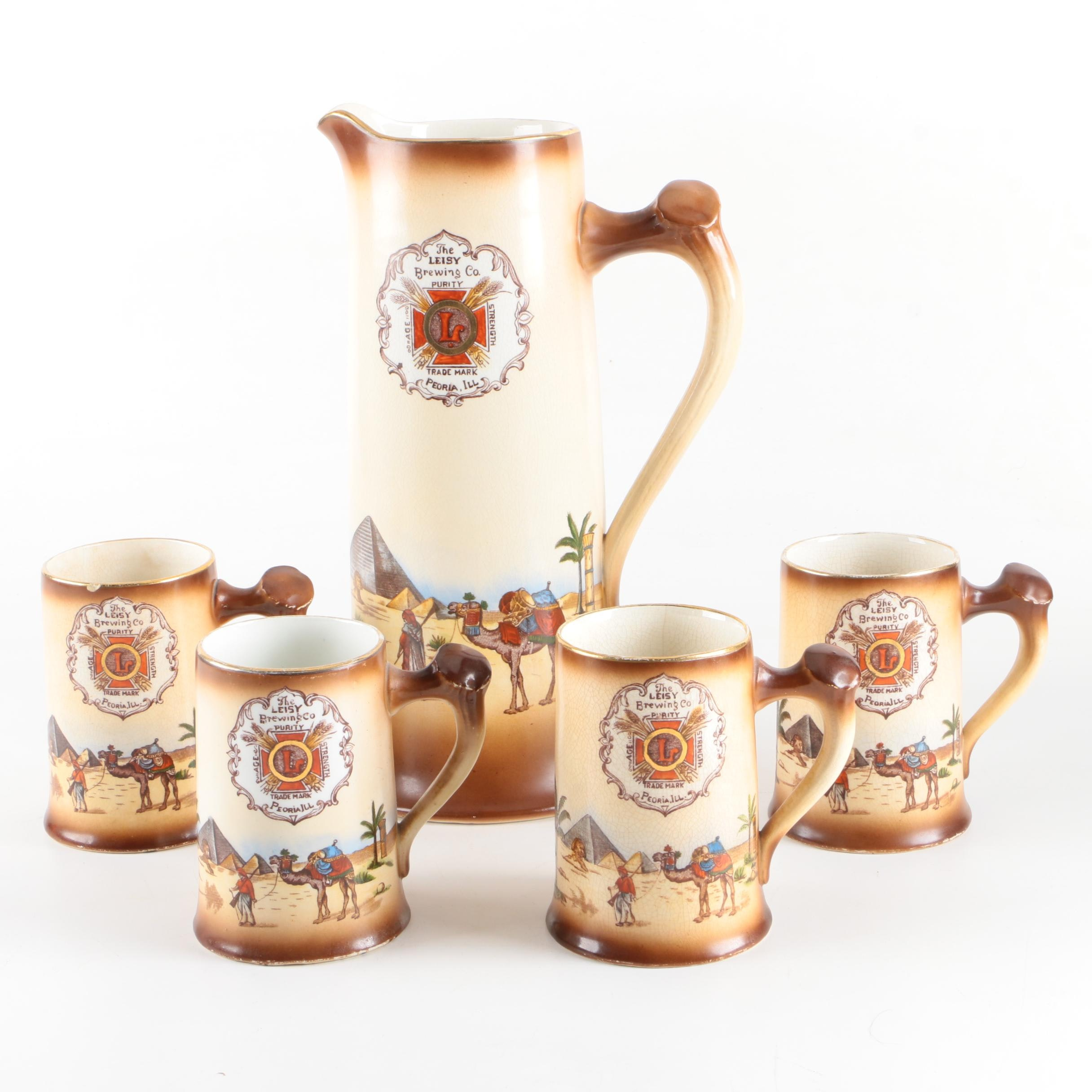 Antique Leisy Brewing Co. Pitcher and Steins