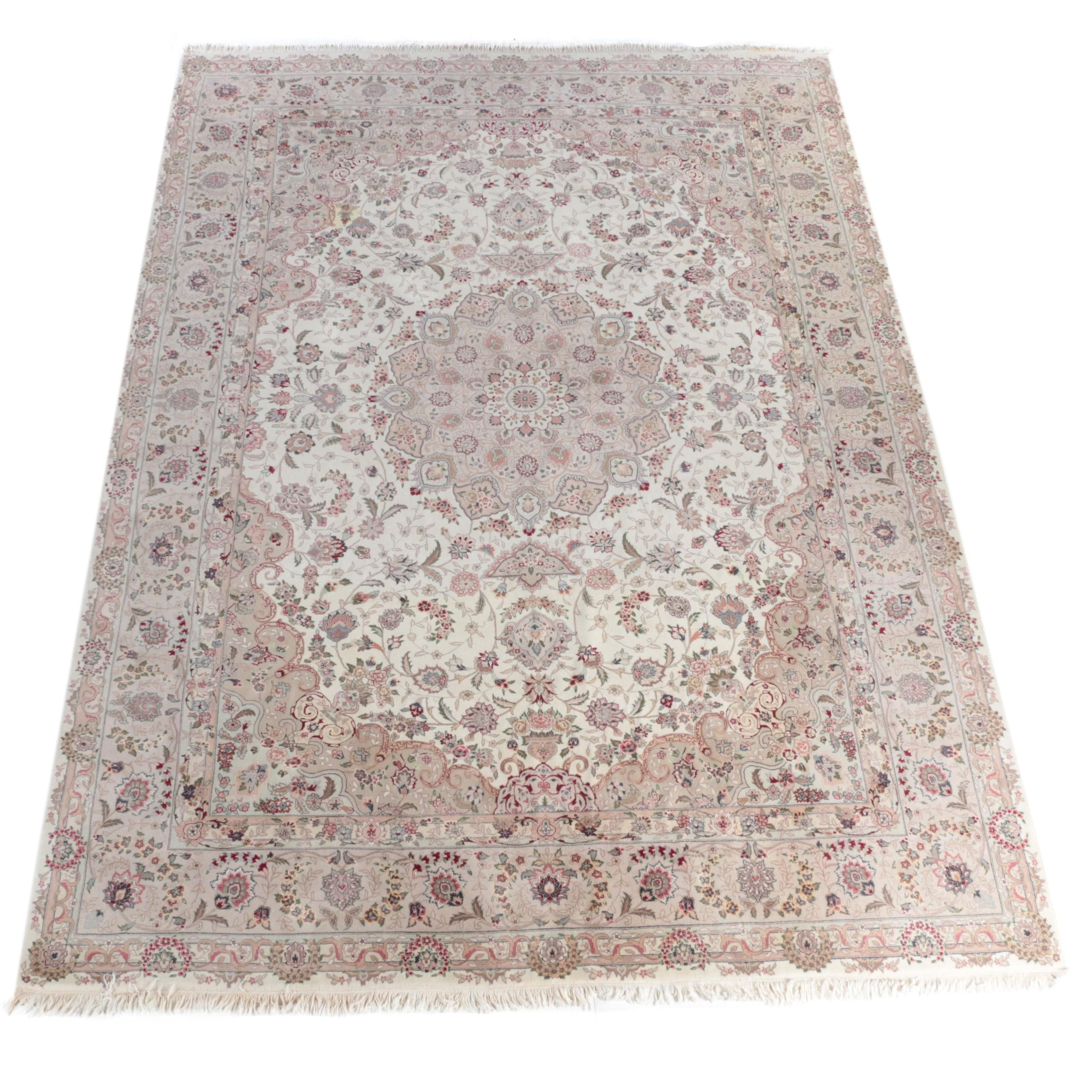 Finely Hand-Knotted Persian Nain Wool Room Size Rug