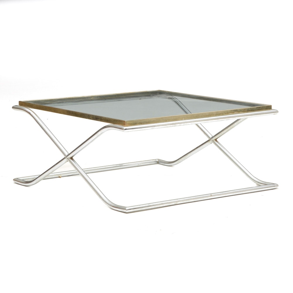 Mid Century Modern Glass and Chrome Coffee Table