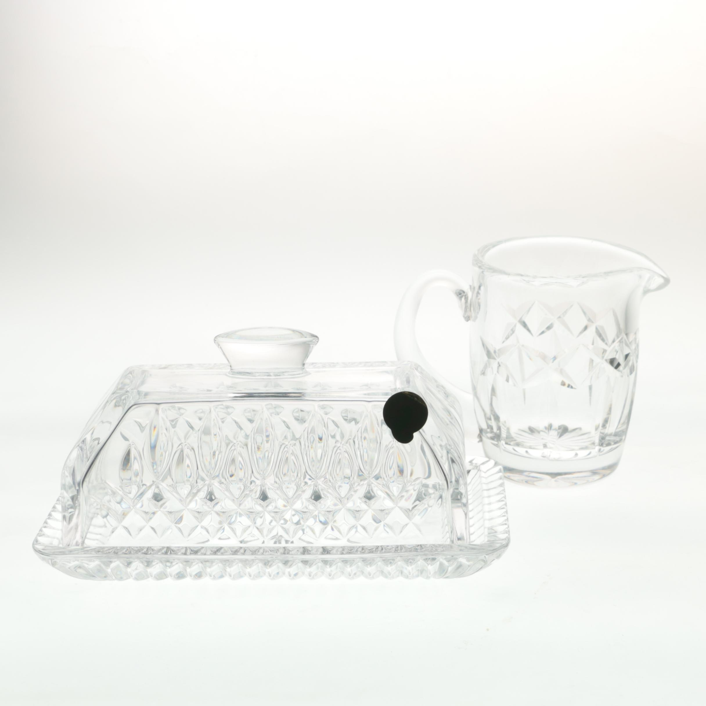 """Waterford Crystal """"Kerry"""" Creamer and """"Lismore"""" Butter Dish"""