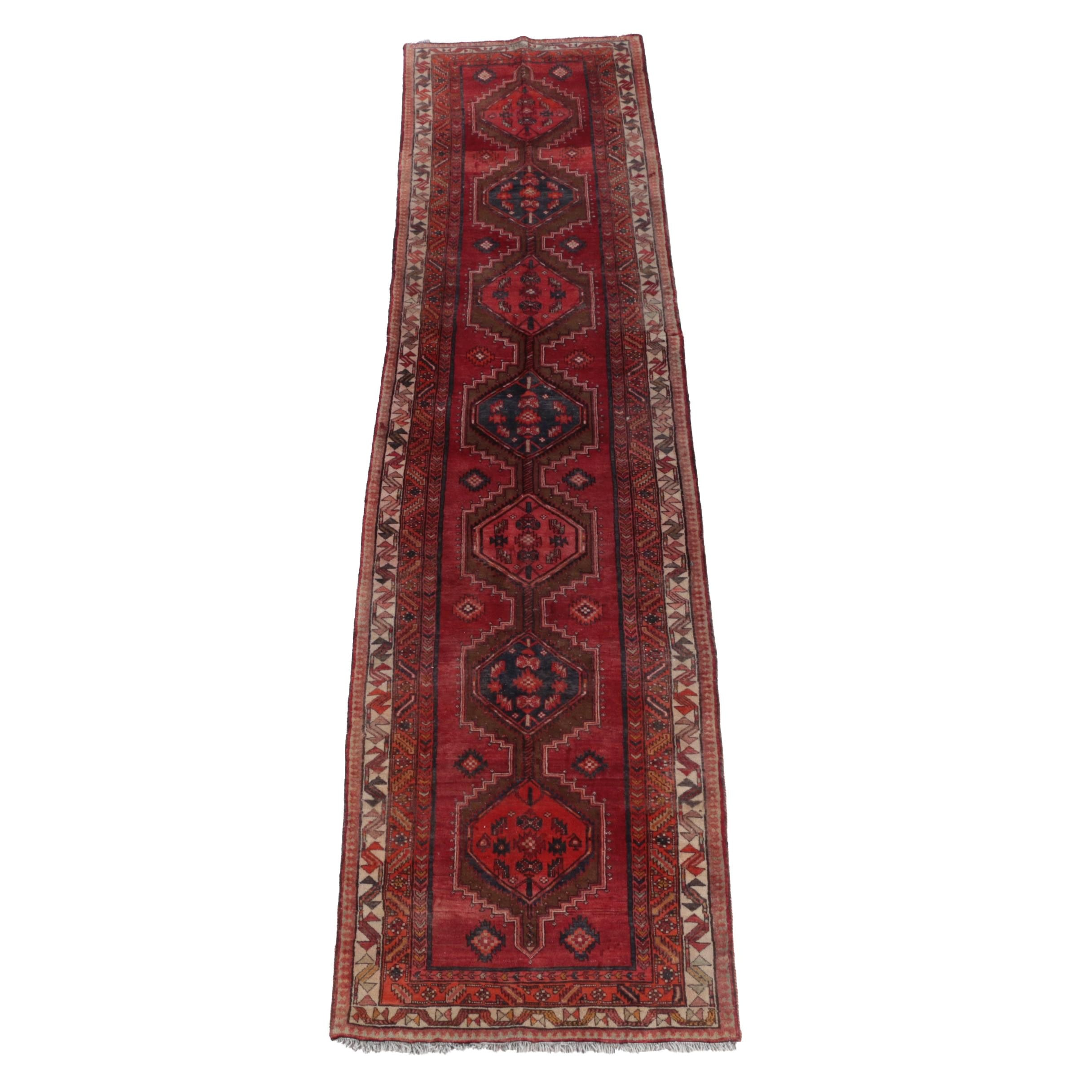 Hand-Knotted Caucasian Wool Carpet Runner