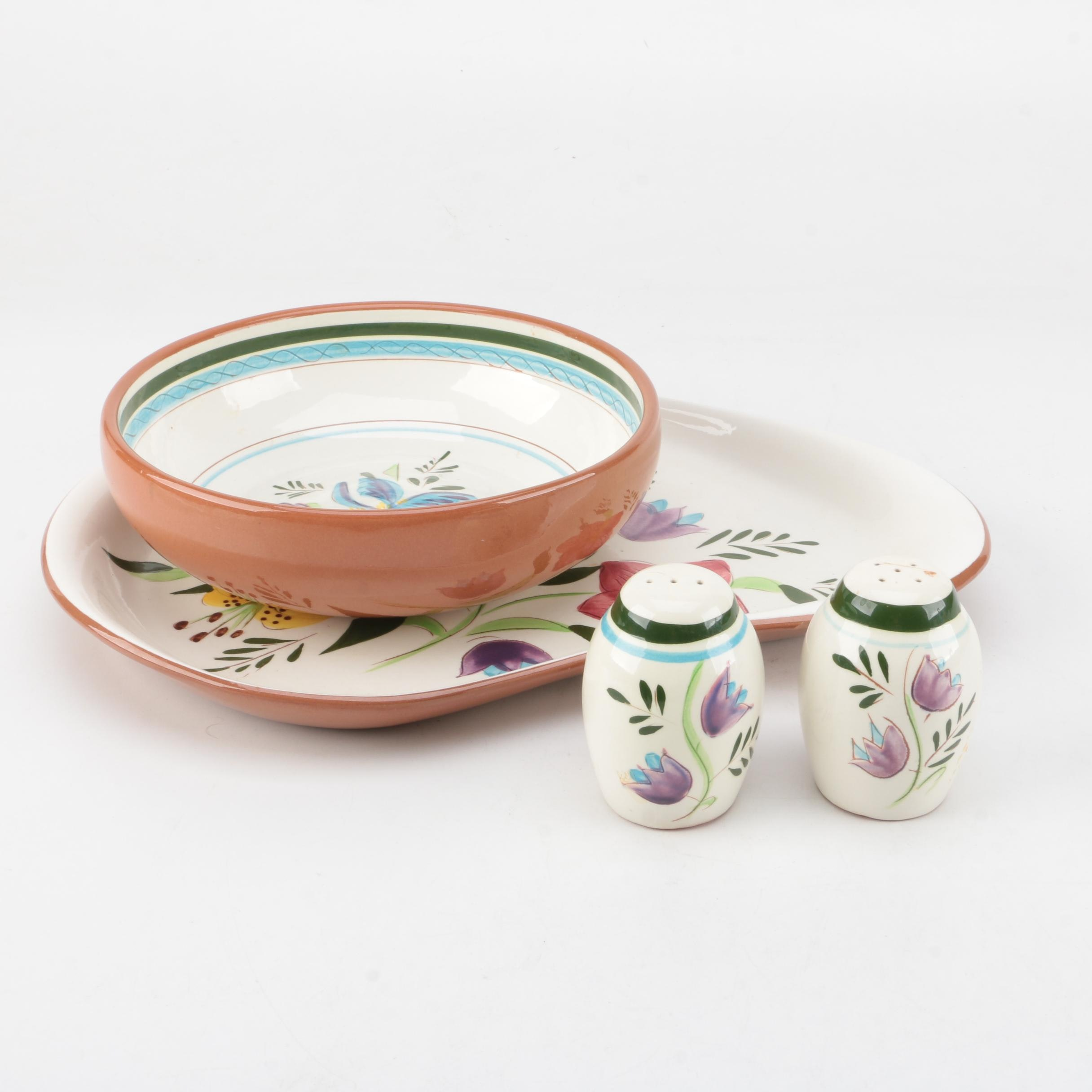 """Vintage Stangl """"Country Garden"""" Serving Dishes and Salt and Pepper Shakers"""