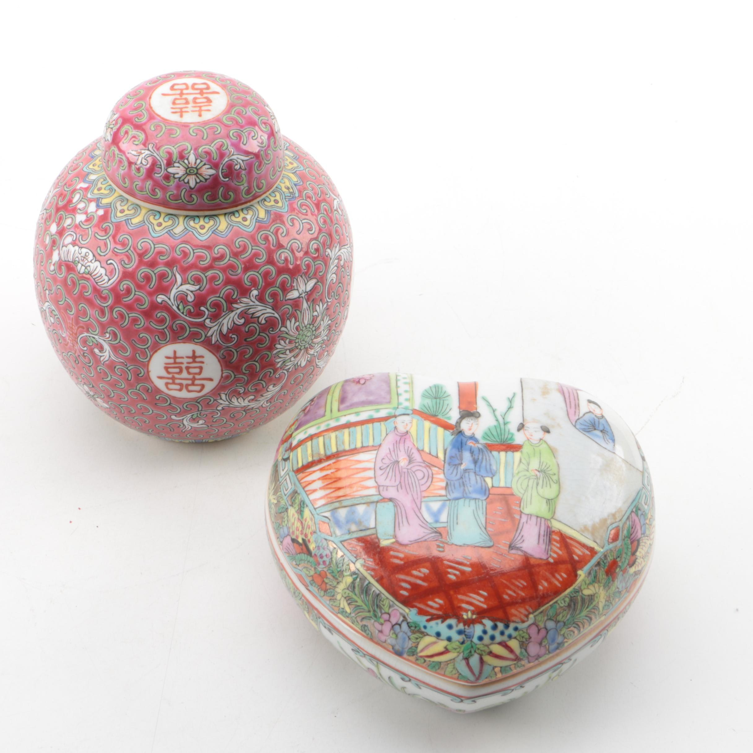 Chinese Hand Painted Porcelain Ginger Jar and Trinket Box
