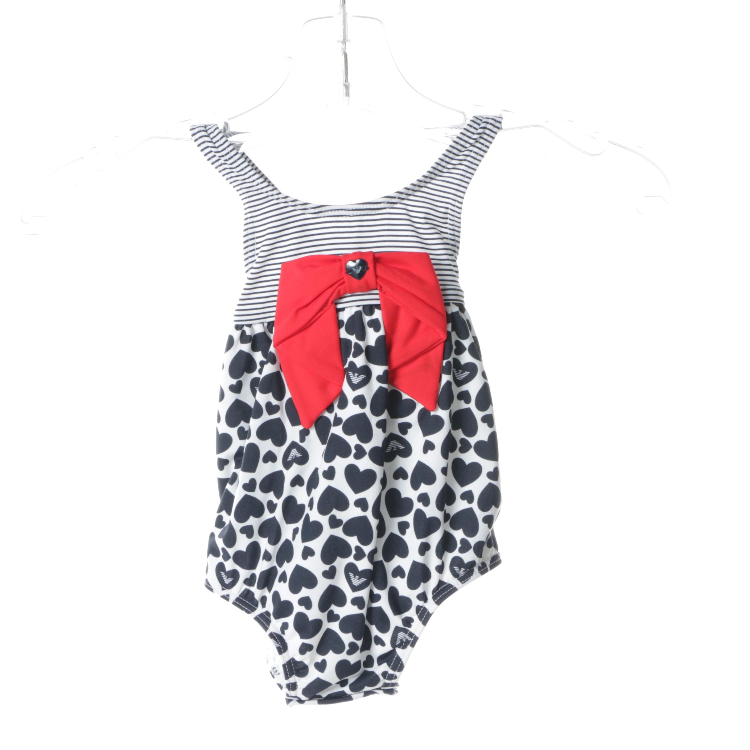 Infant Girls' Armani Hearts and Stripe's Swimsuit