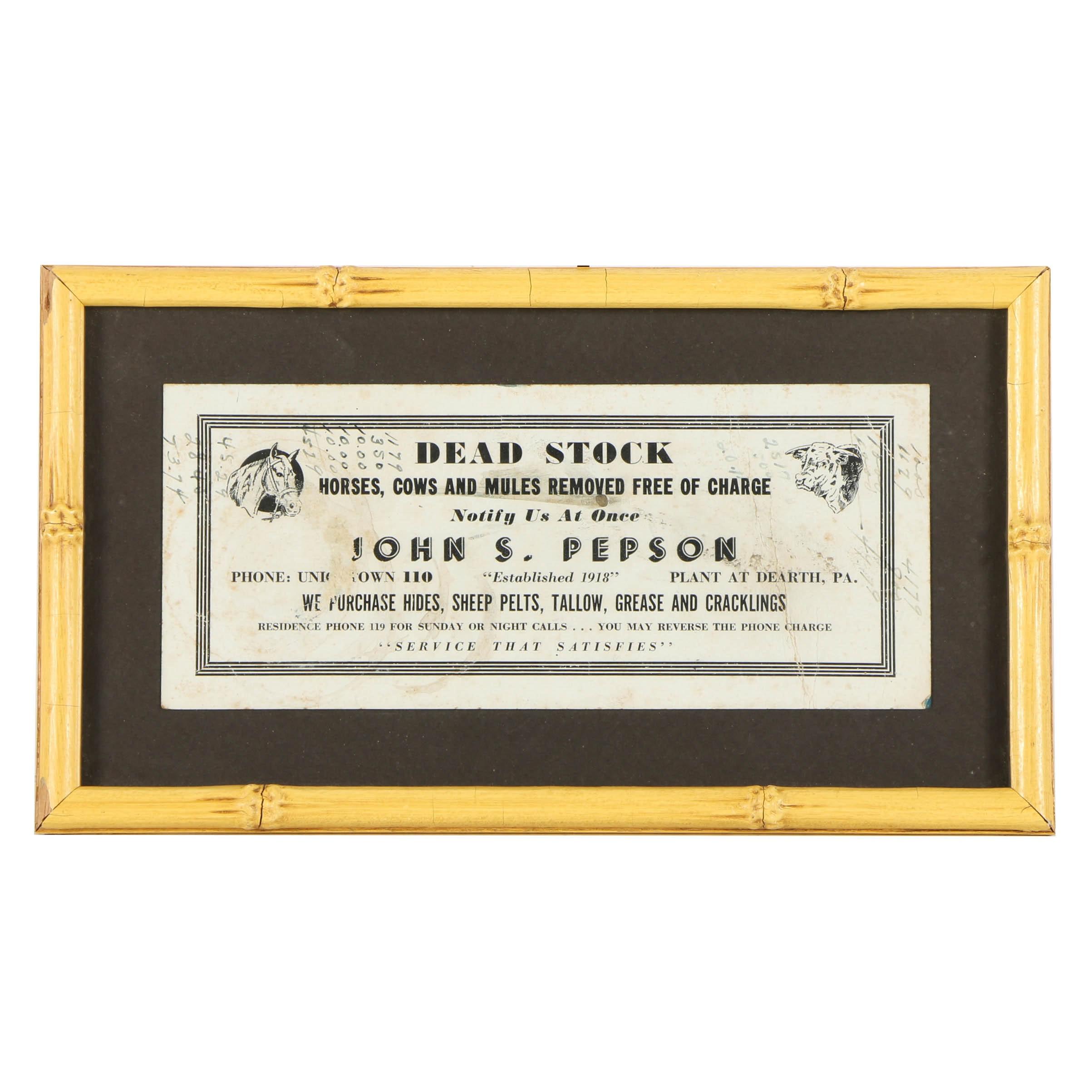 "John S. Pepson Advertisement ""Dead Stock Removal"""