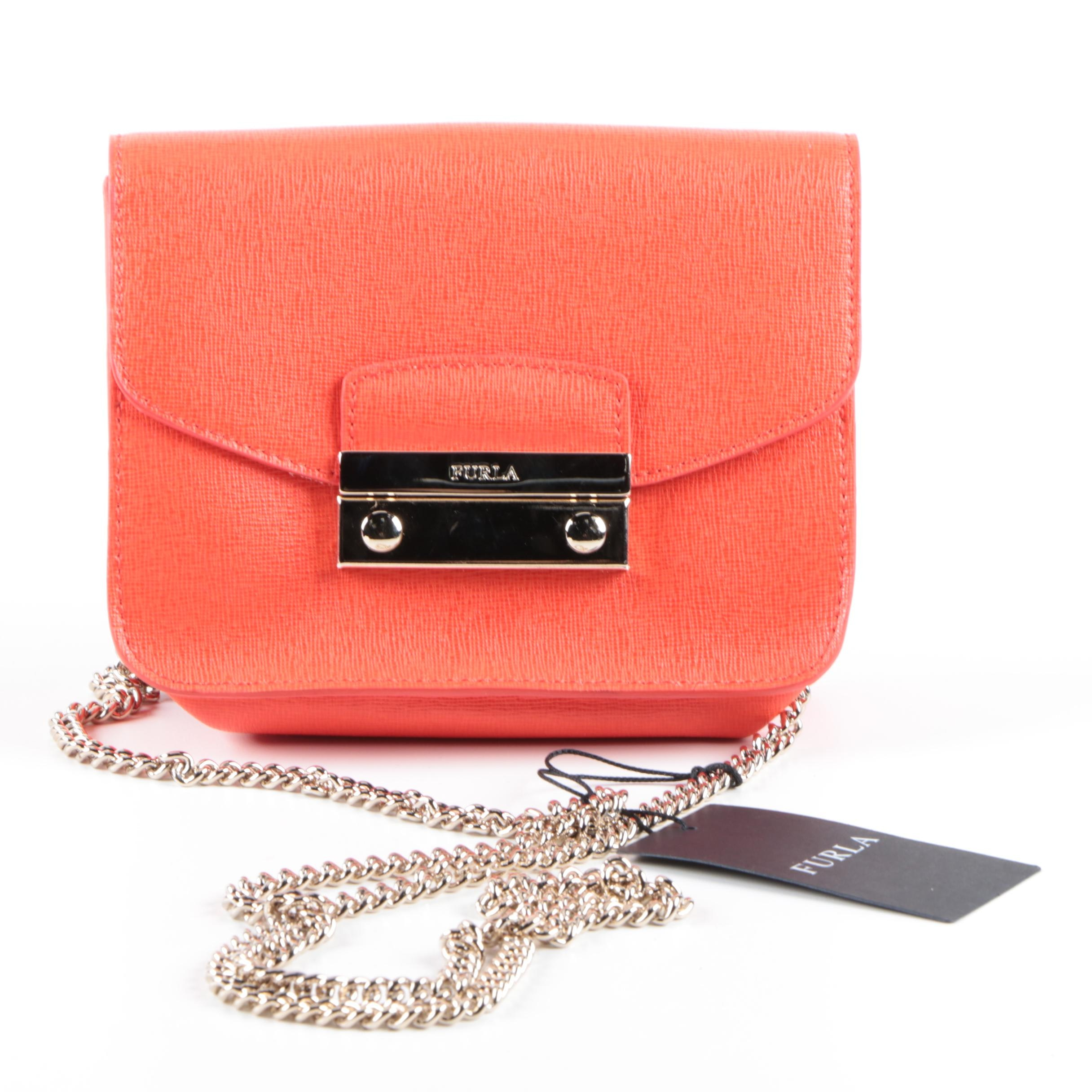 Furla Orange Leather Crossbody Bag