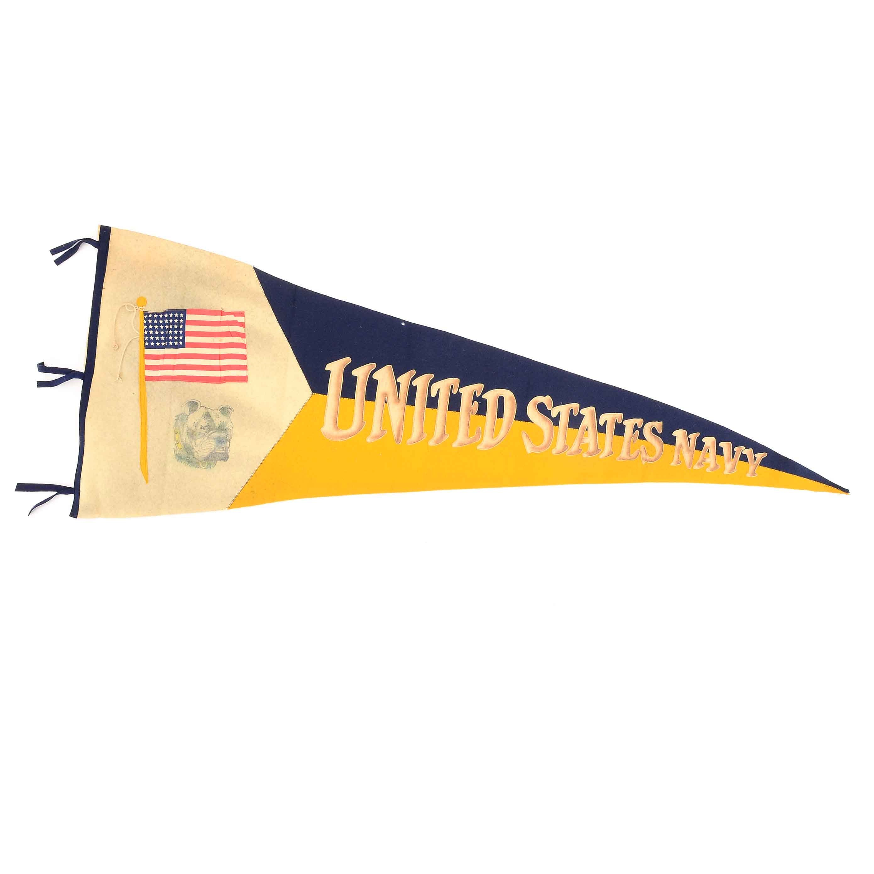 "1910-1920  ""United States Navy"" Banner With Sewn On Letters"