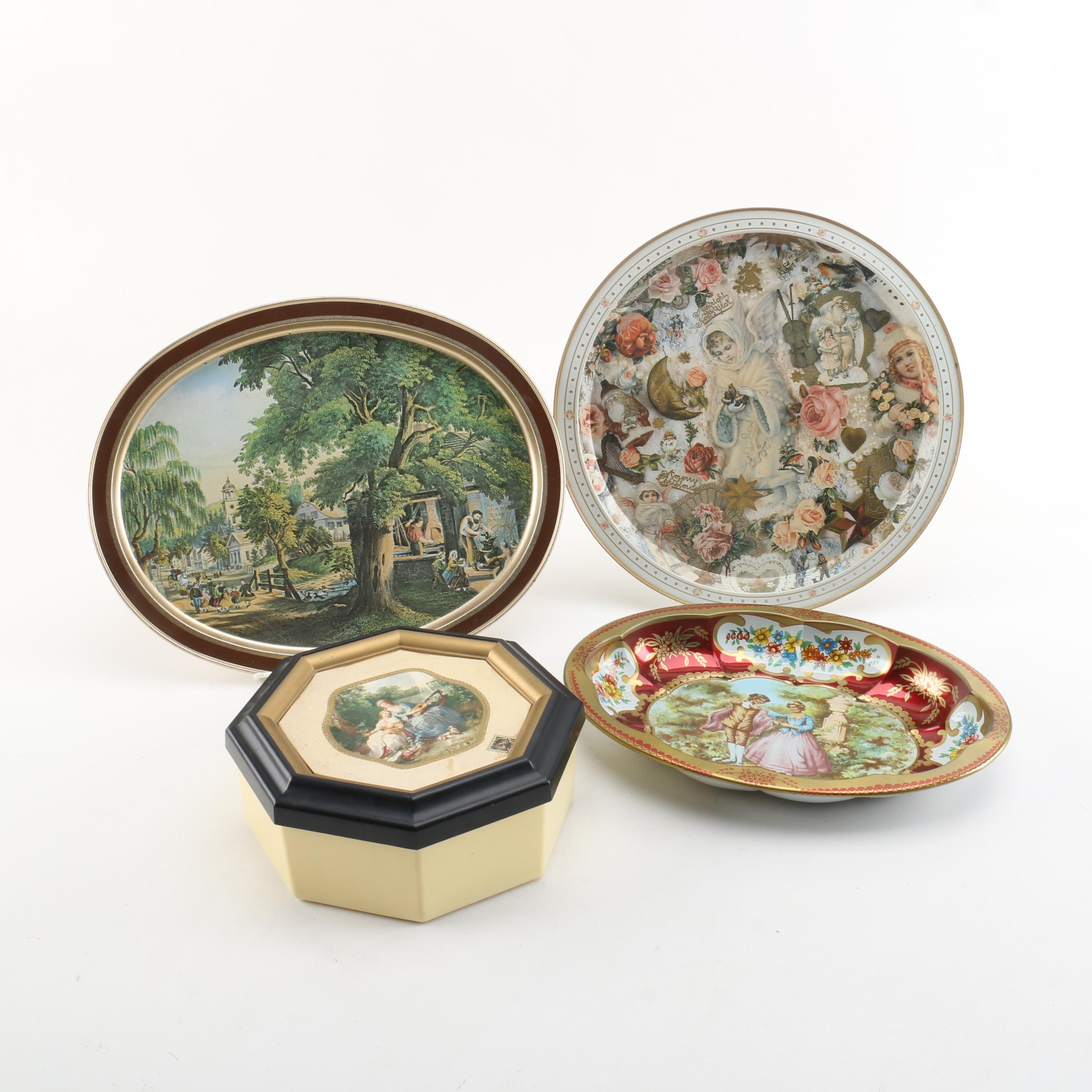 Decorative Plastic Tin and Metal Trays, Including Daher Decorated Ware