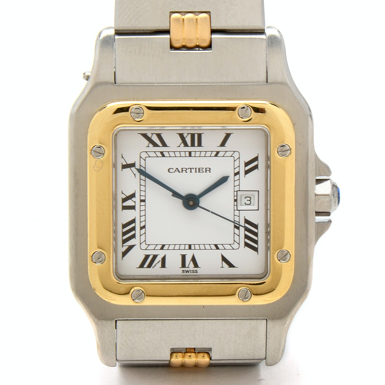 Cartier Santos Galbée 18K Yellow Gold and Stainless Steel Automatic Wristwatch