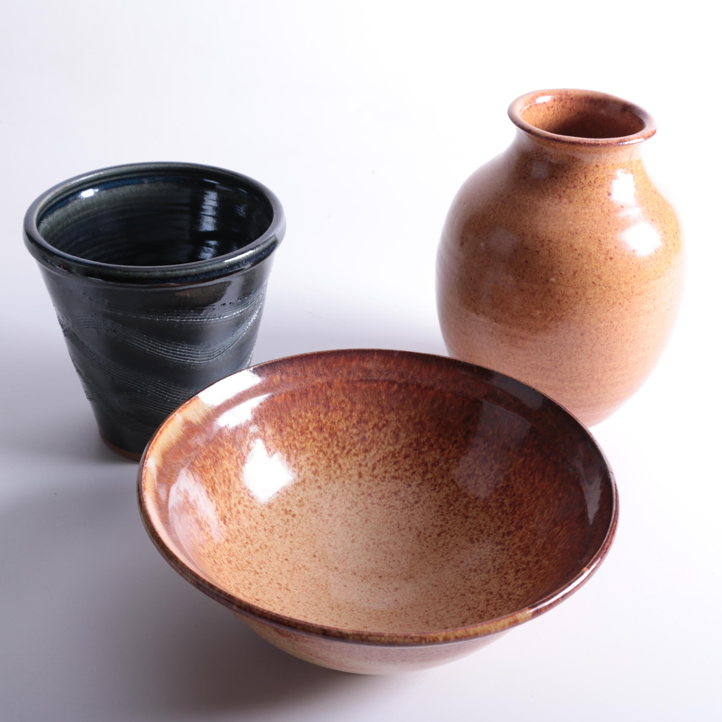 Contemporary Glazed Stoneware Pottery Group