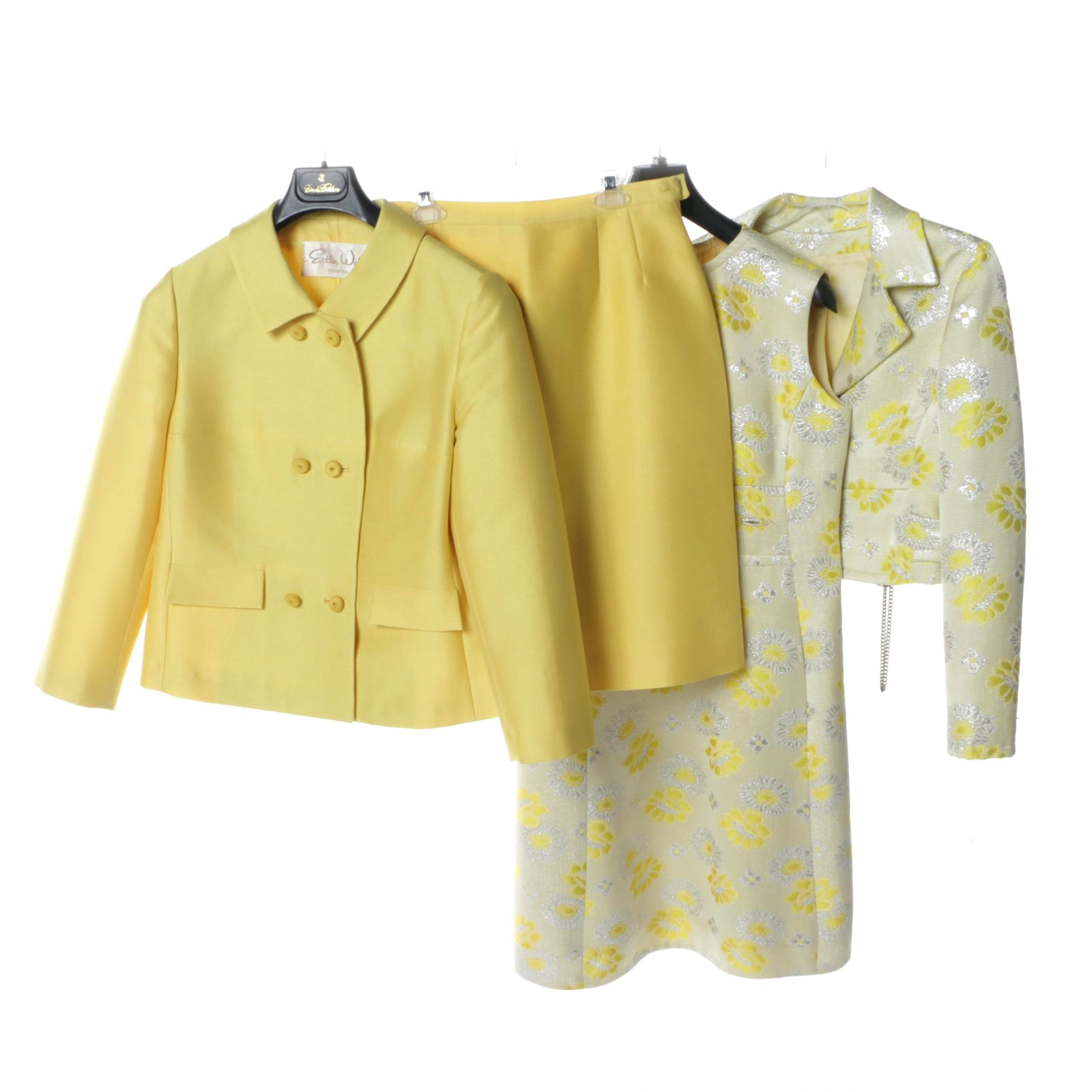 1960s Sunshine Yellow Linen and Silk Brocade Skirt and Dress Suits