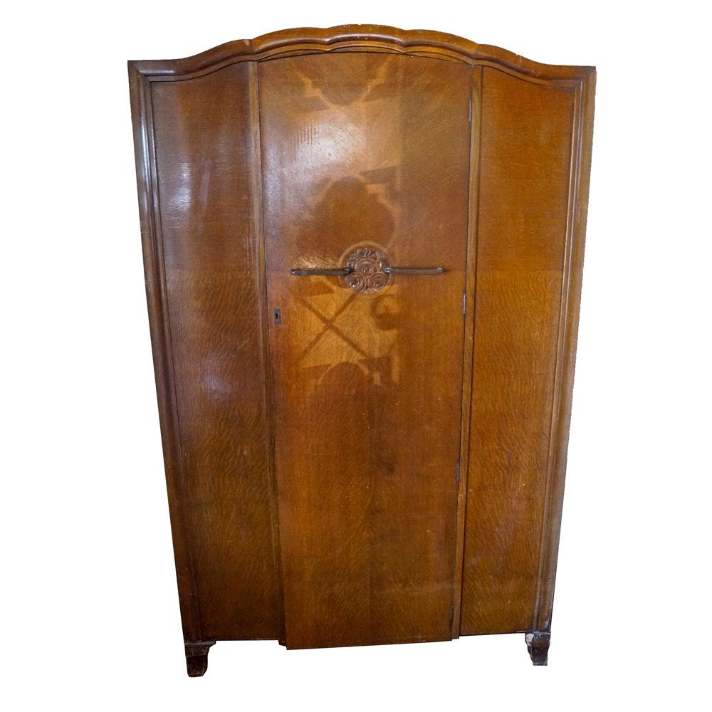 Vintage English Art Deco Oak Armoire