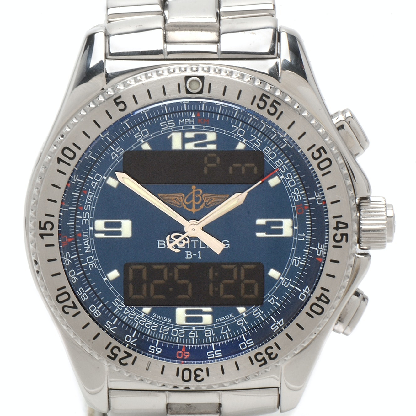 Breitling B-1 Quartz Chronograph Analog and Digital Stainless Steel Wristwatch
