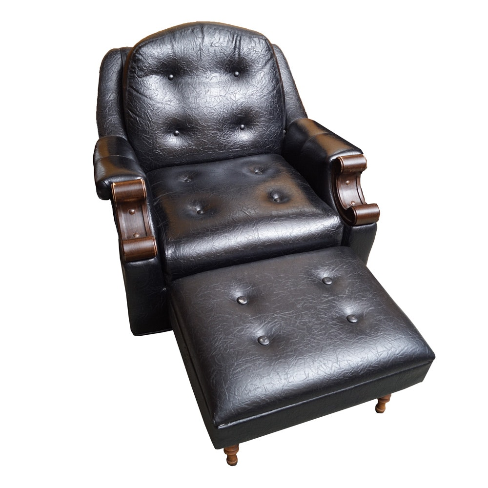 Black Vinyl Chair with Ottoman