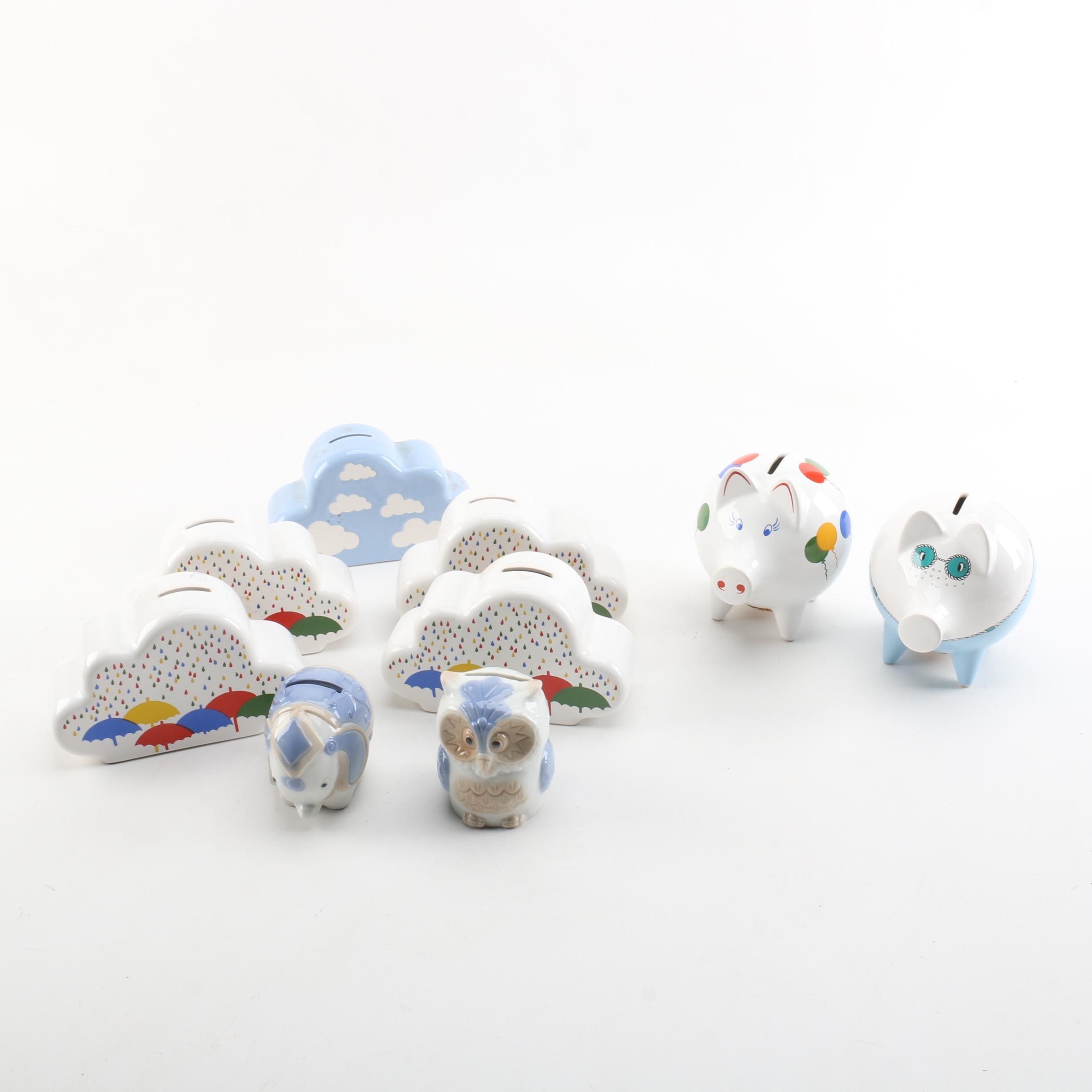 Ceramic Coin and Piggy Banks, Including Waechtersbach