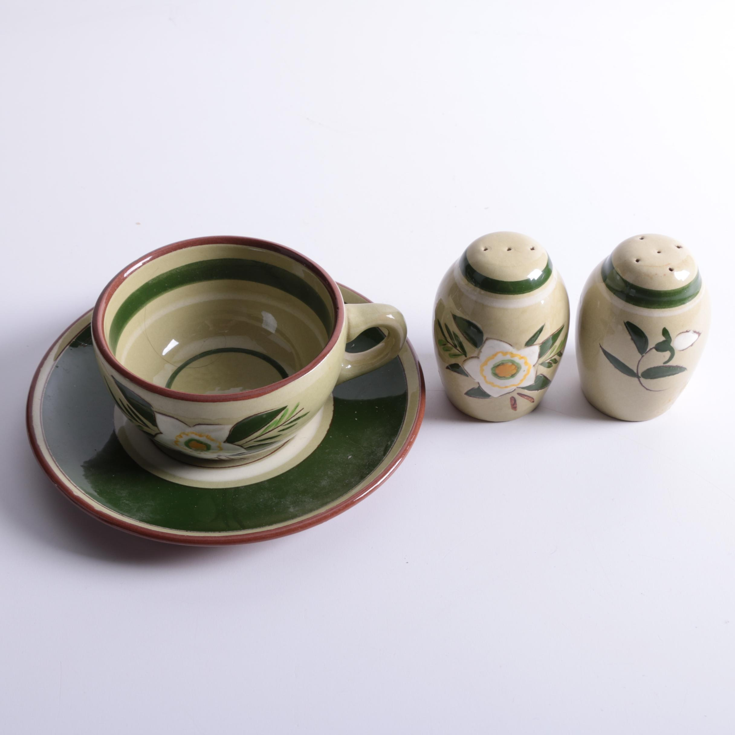 """Vintage Stangl """"Star Flower"""" Plate, Bowl and Salt and Pepper Shakers"""
