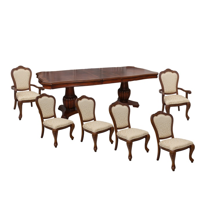 Twin-Pedestal Dining Table and Six Chairs