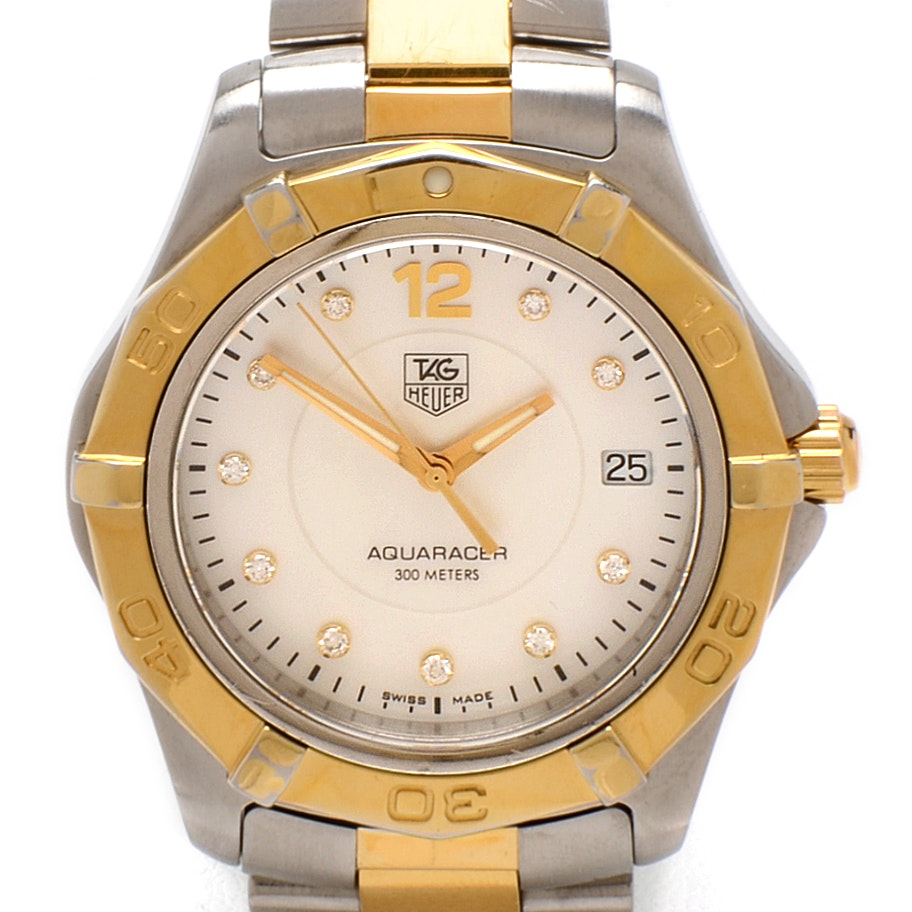 TAG Heuer Aquaracer Mother of Pearl and Diamond Dial Gold Tone Wristwatch
