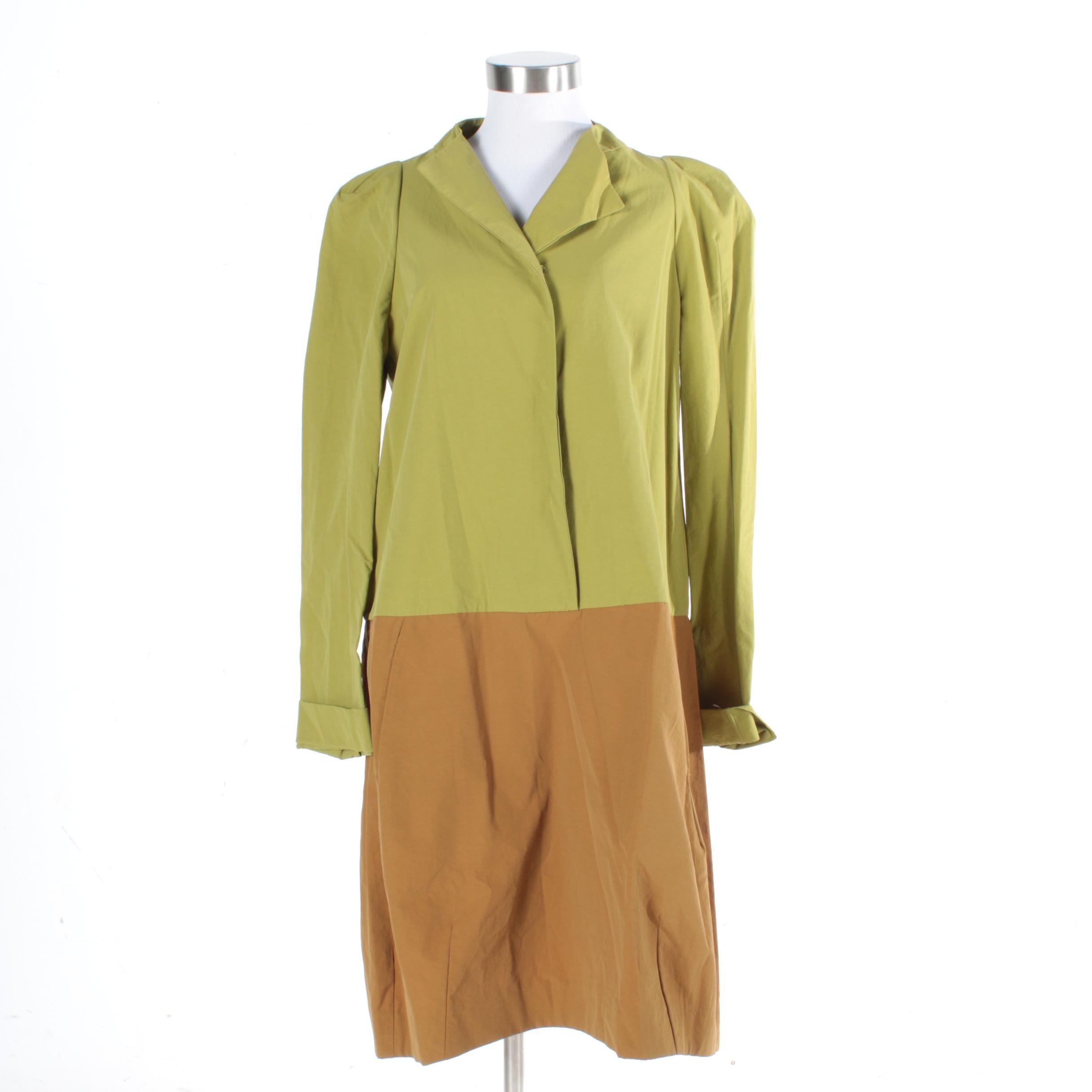 Marni Green and Brown Color Block Shift Dress
