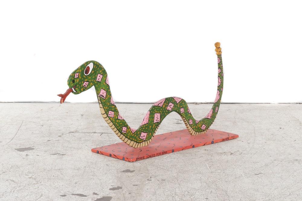 """Garrett Painted Folk Art Sculpture """"Snake Loaded for Bear"""""""