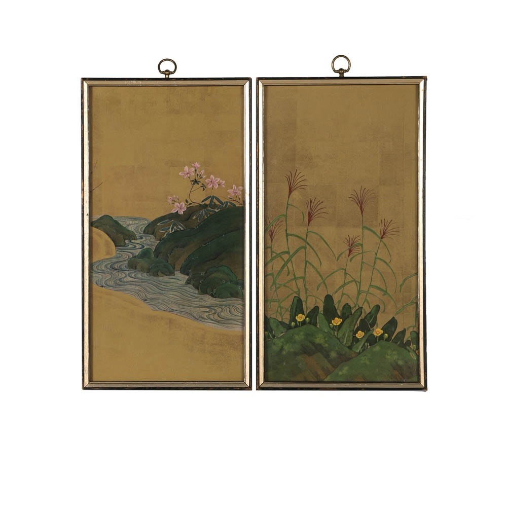 Pair of Offset Lithographs after a Japanese Folding Screen