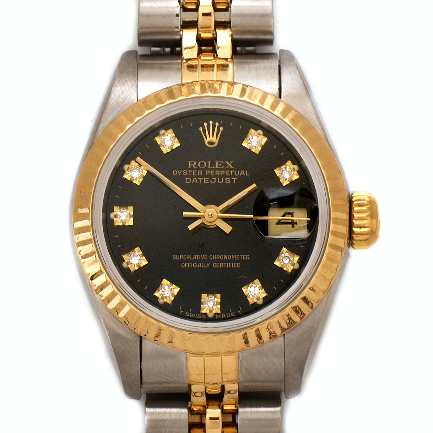 Rolex Datejust 18K Yellow Gold and Stainless Steel Factory Diamond Wristwatch