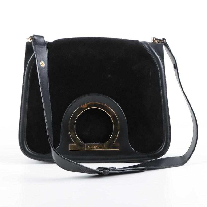 Salvatore Ferragamo Gancini Suede Handbag   EBTH 911d77fd3115d