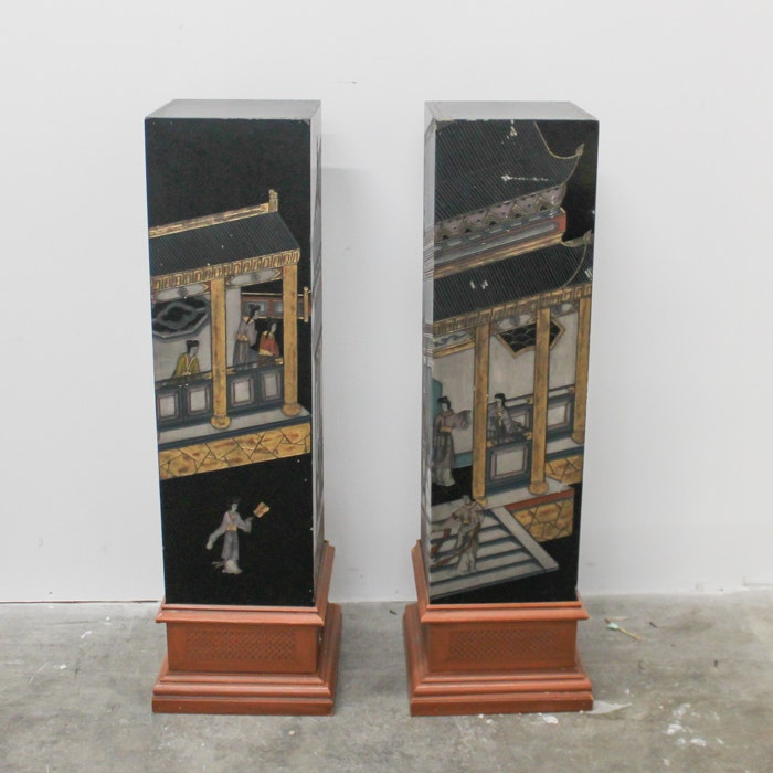Pair of Asian Style Carved Lacquer Pedestals