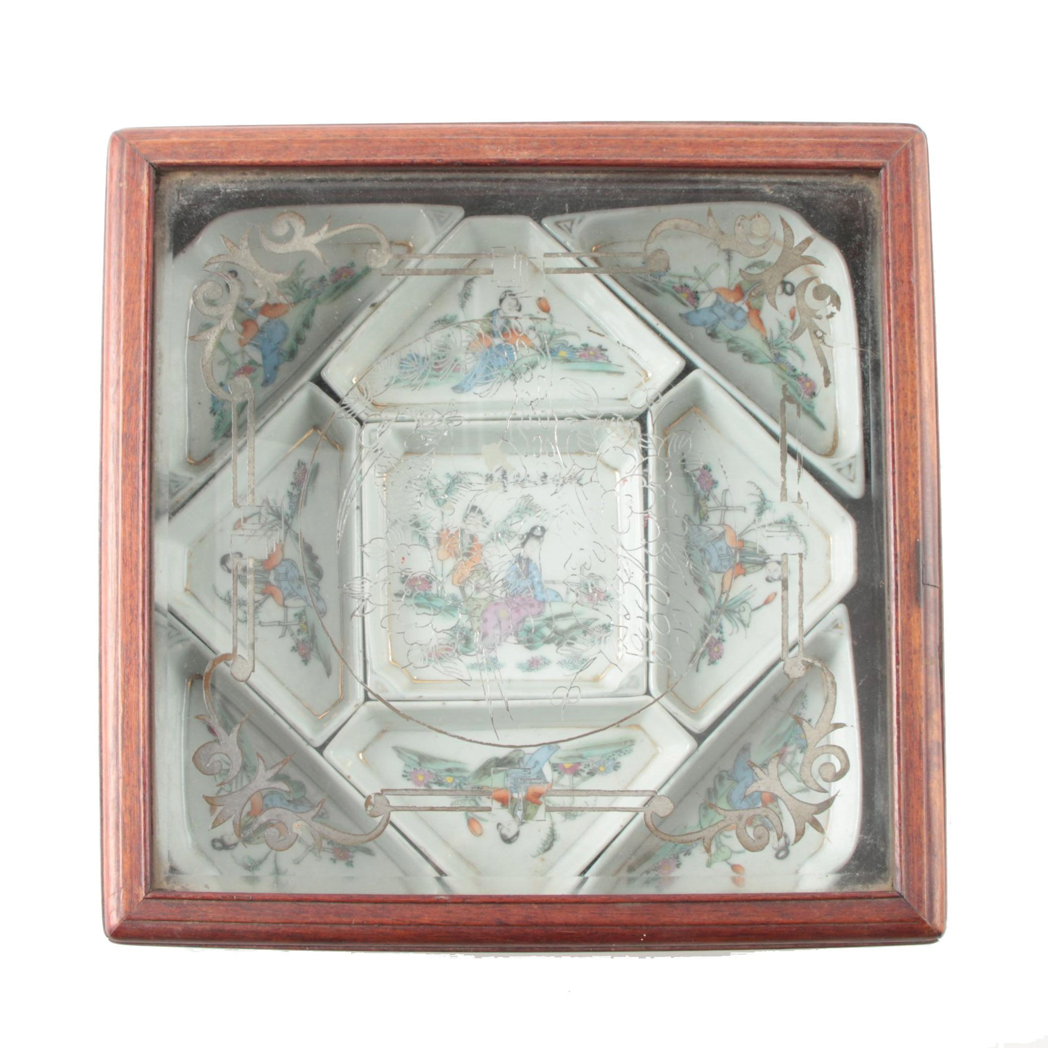 Wood Box with Asian Porcelain Dishes
