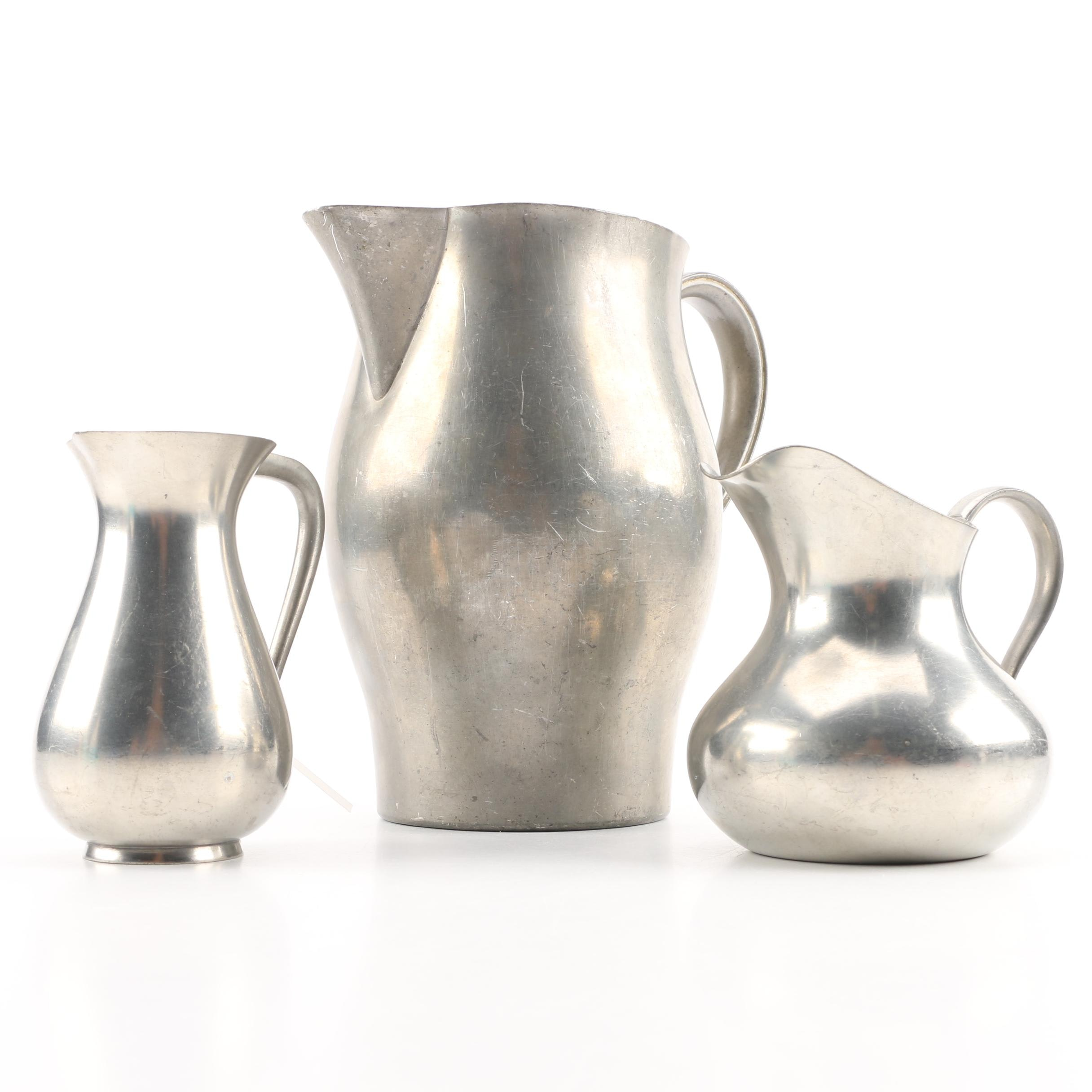 International Pewter Pitcher with KMD Royal Holland Pewter Creamers