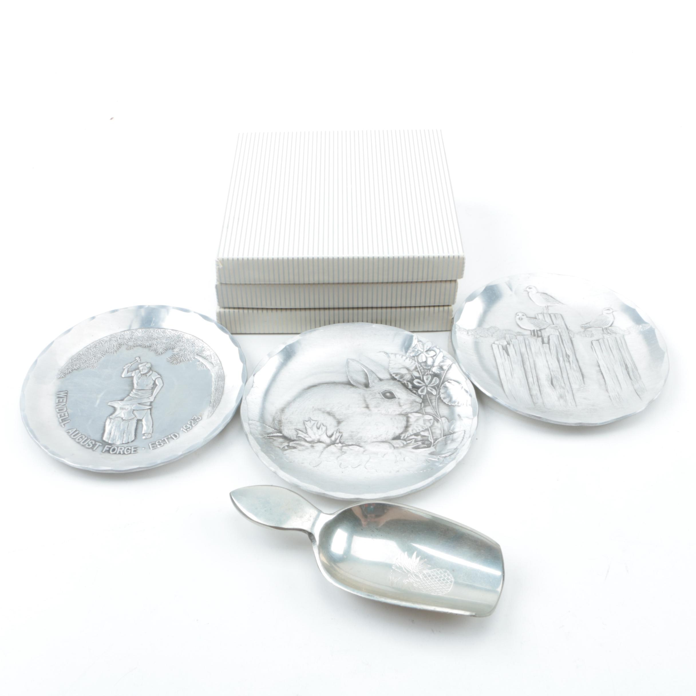 Wendell August Forge Pewter Plates and Stieff Pewter Scoop