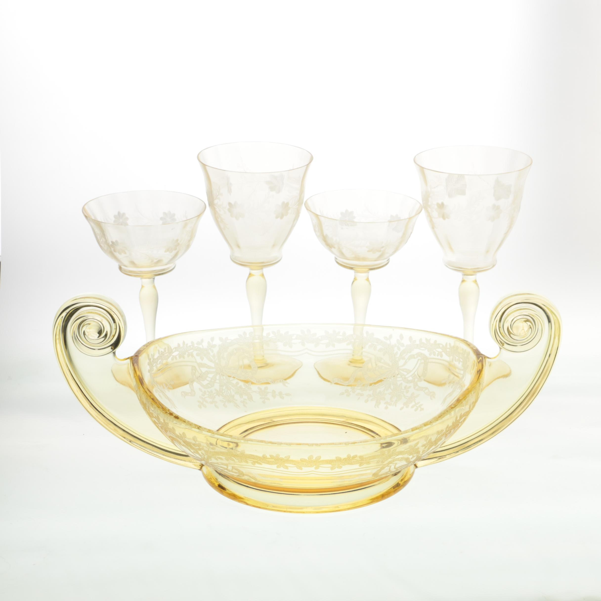 Vintage Yellow Depression Glass Tableware