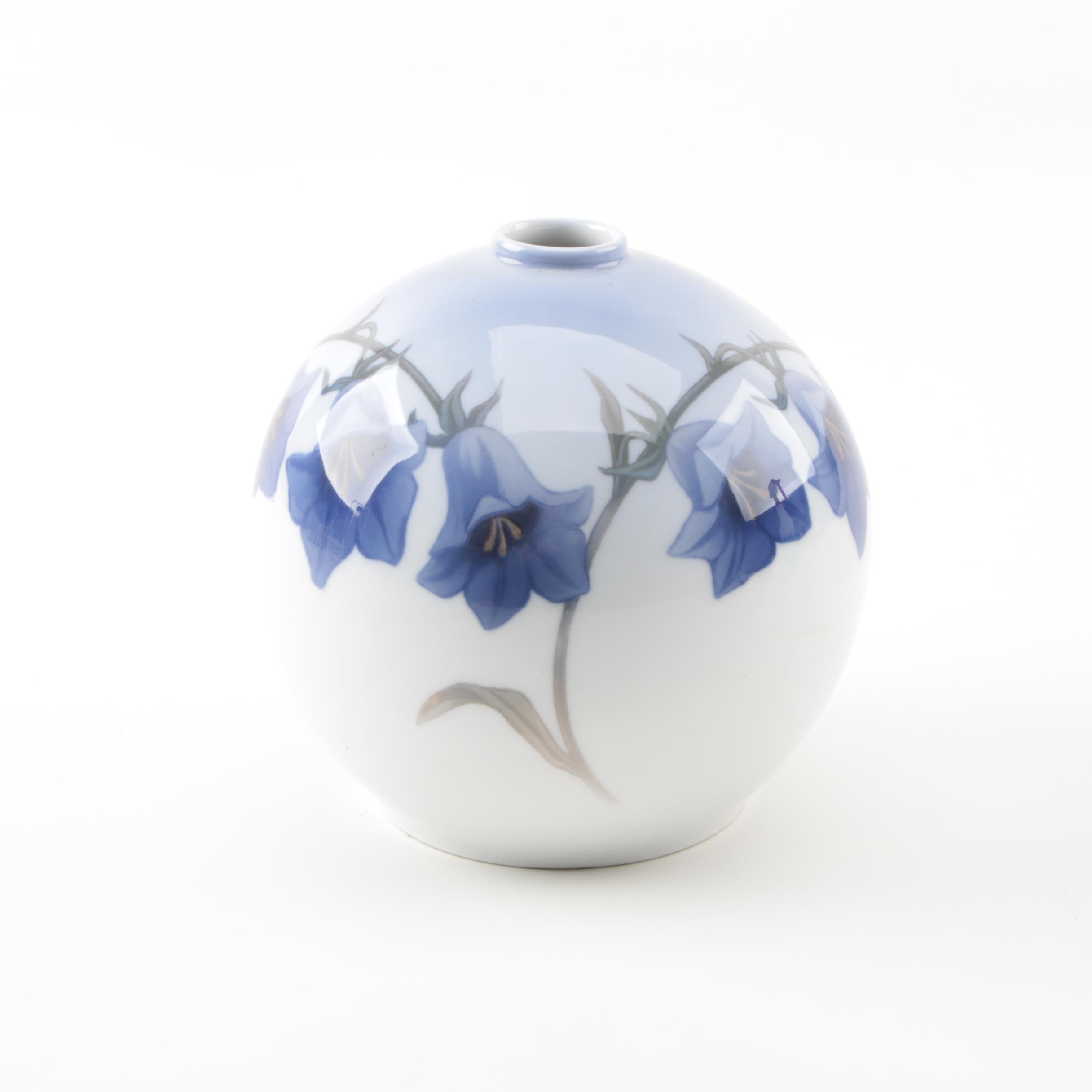 Circa 1920s Royal Copenhagen Porcelain Vase with Bluebells