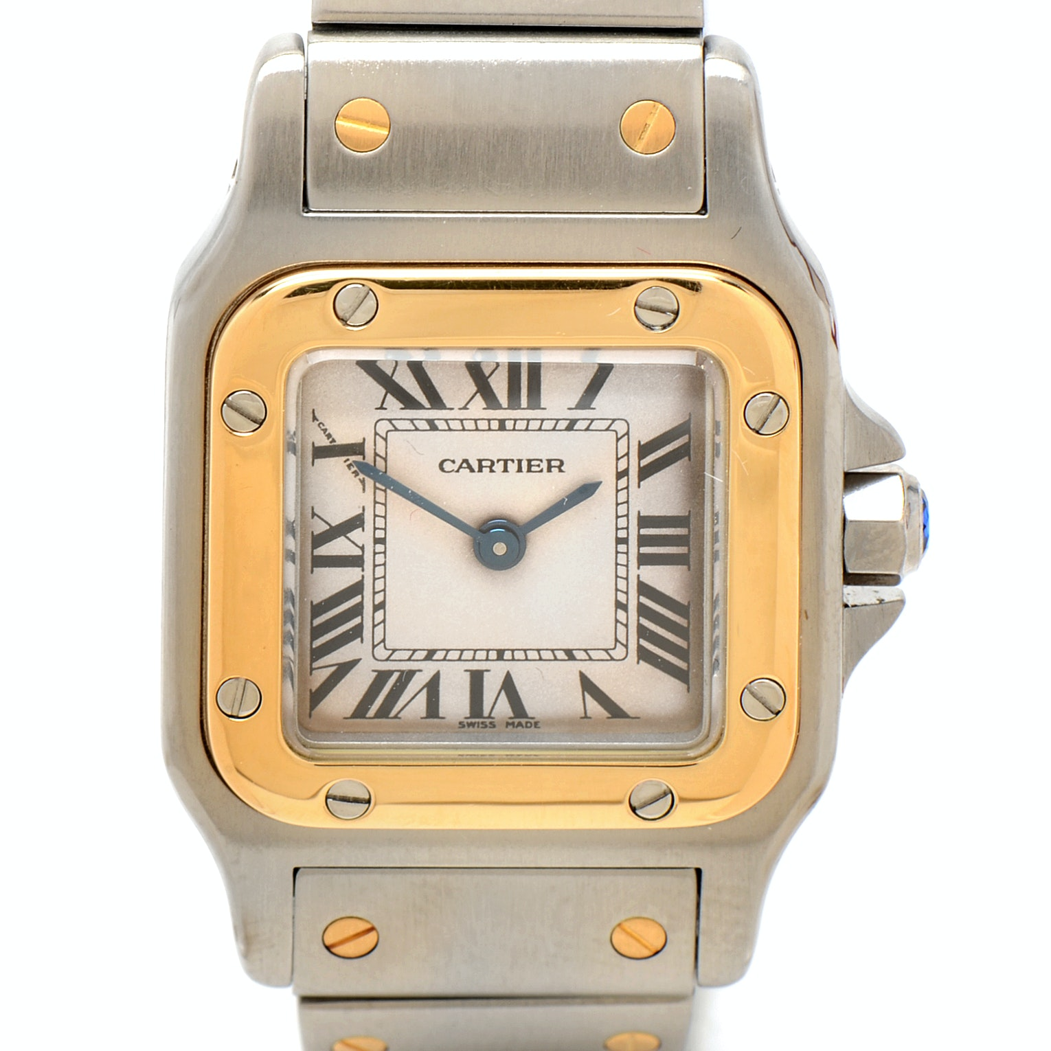Cartier Santos Galbée 18K Yellow Gold and Stainless Steel Quartz Wristwatch