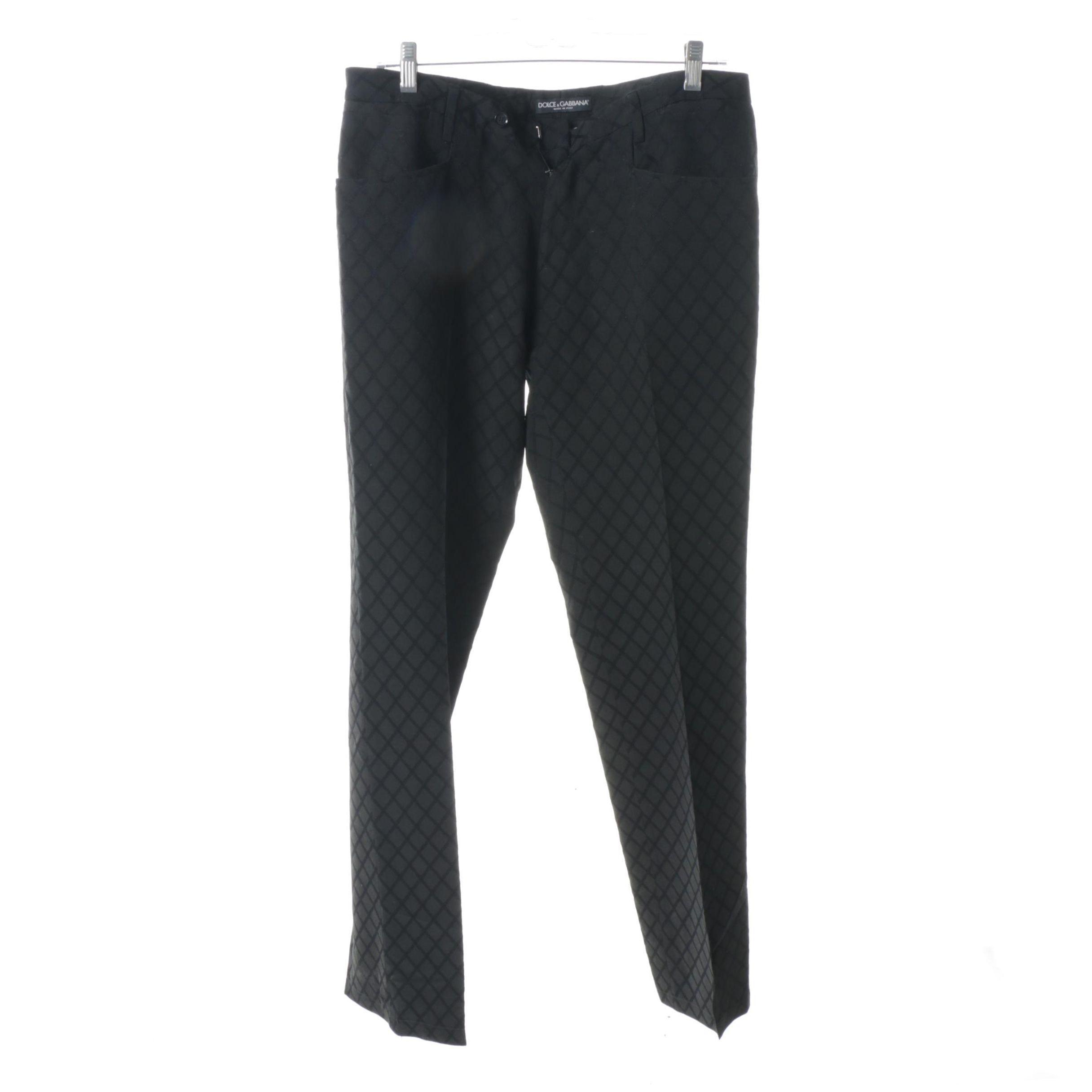 Men's Dolce & Gabbana Wool and Silk Blend Jacquard Trousers