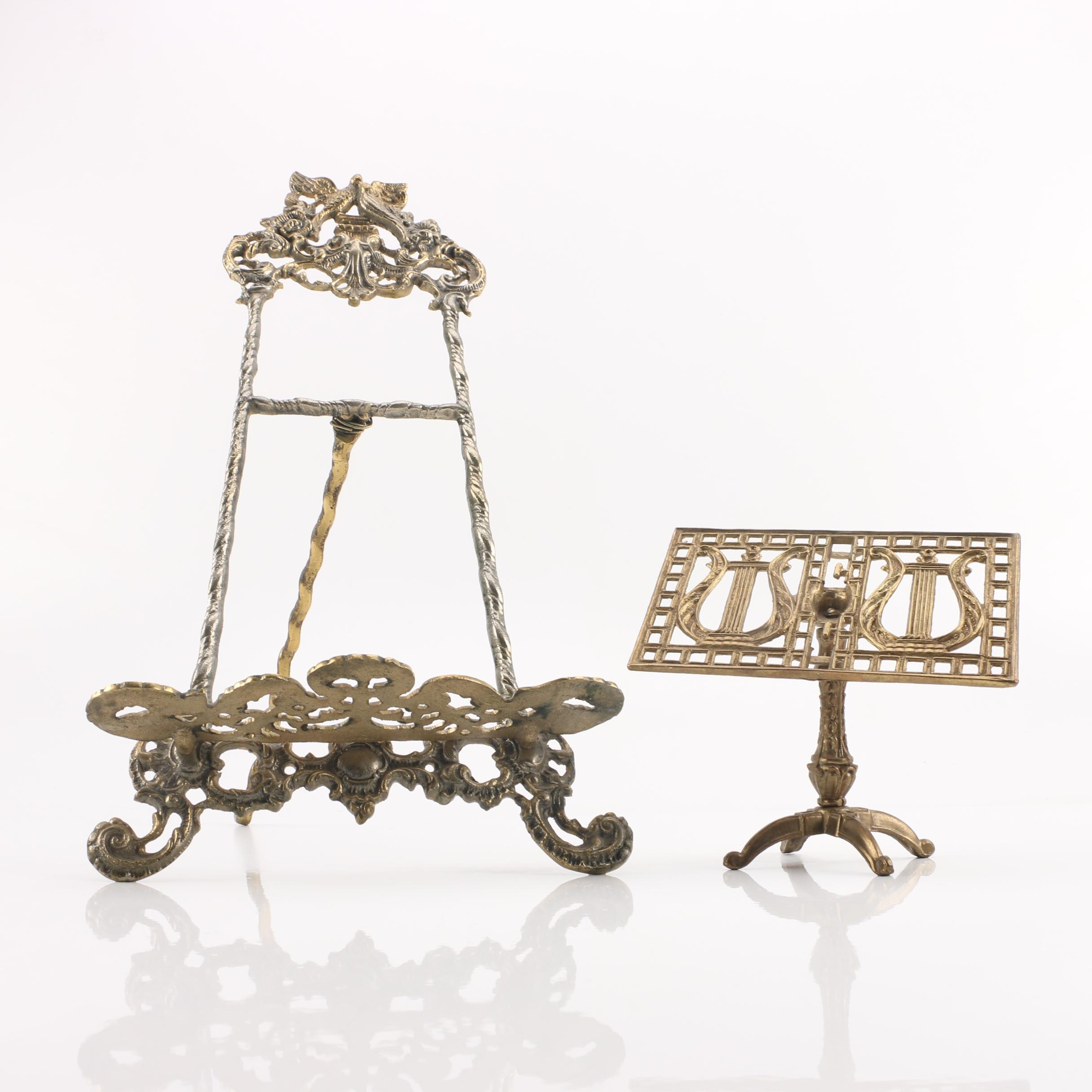 Highly Ornate Brass Easels